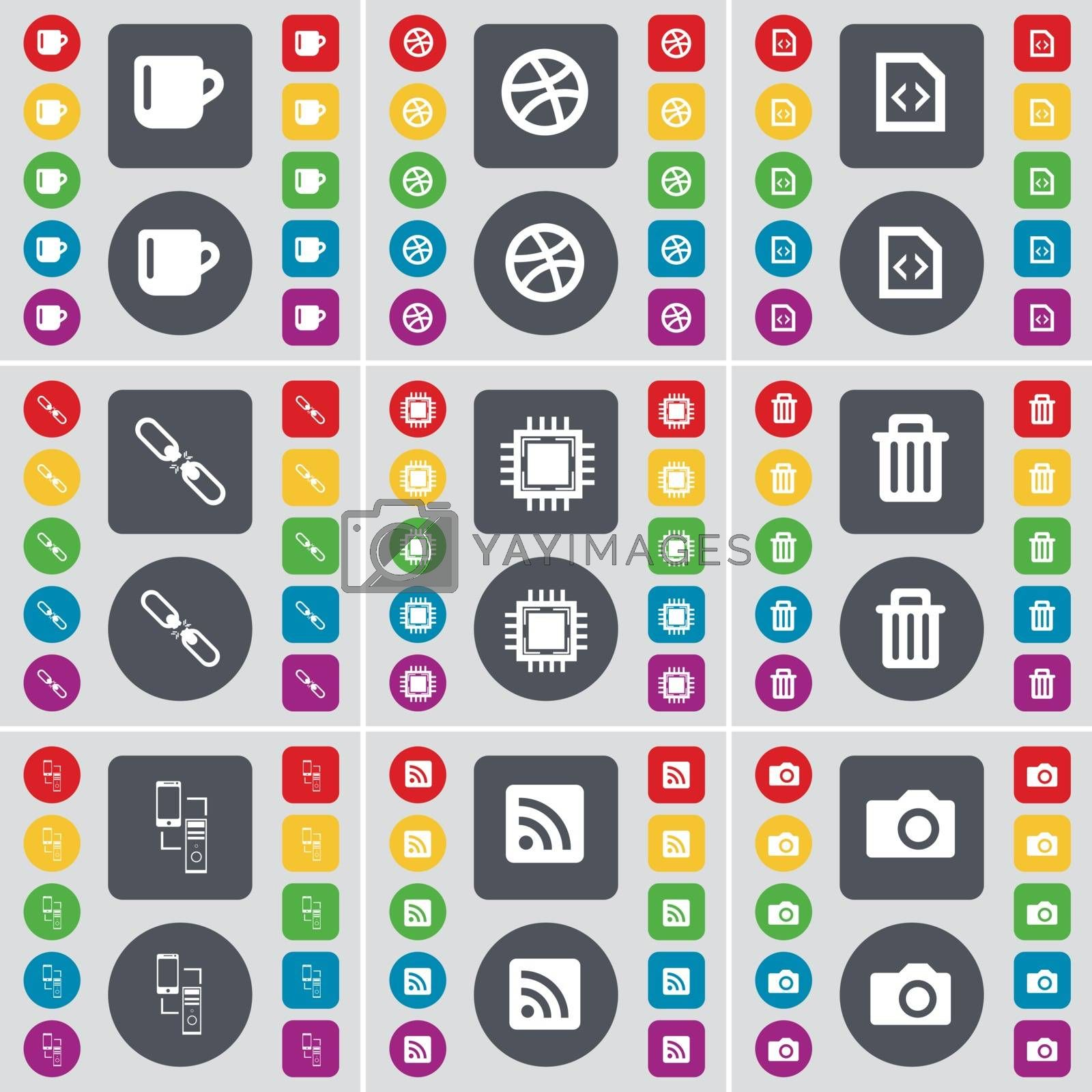 Royalty free image of Cup, Ball, File, Link, Processor, Trash can, Connection, RSS, Camera icon symbol. A large set of flat, colored buttons for your design. Vector by serhii_lohvyniuk