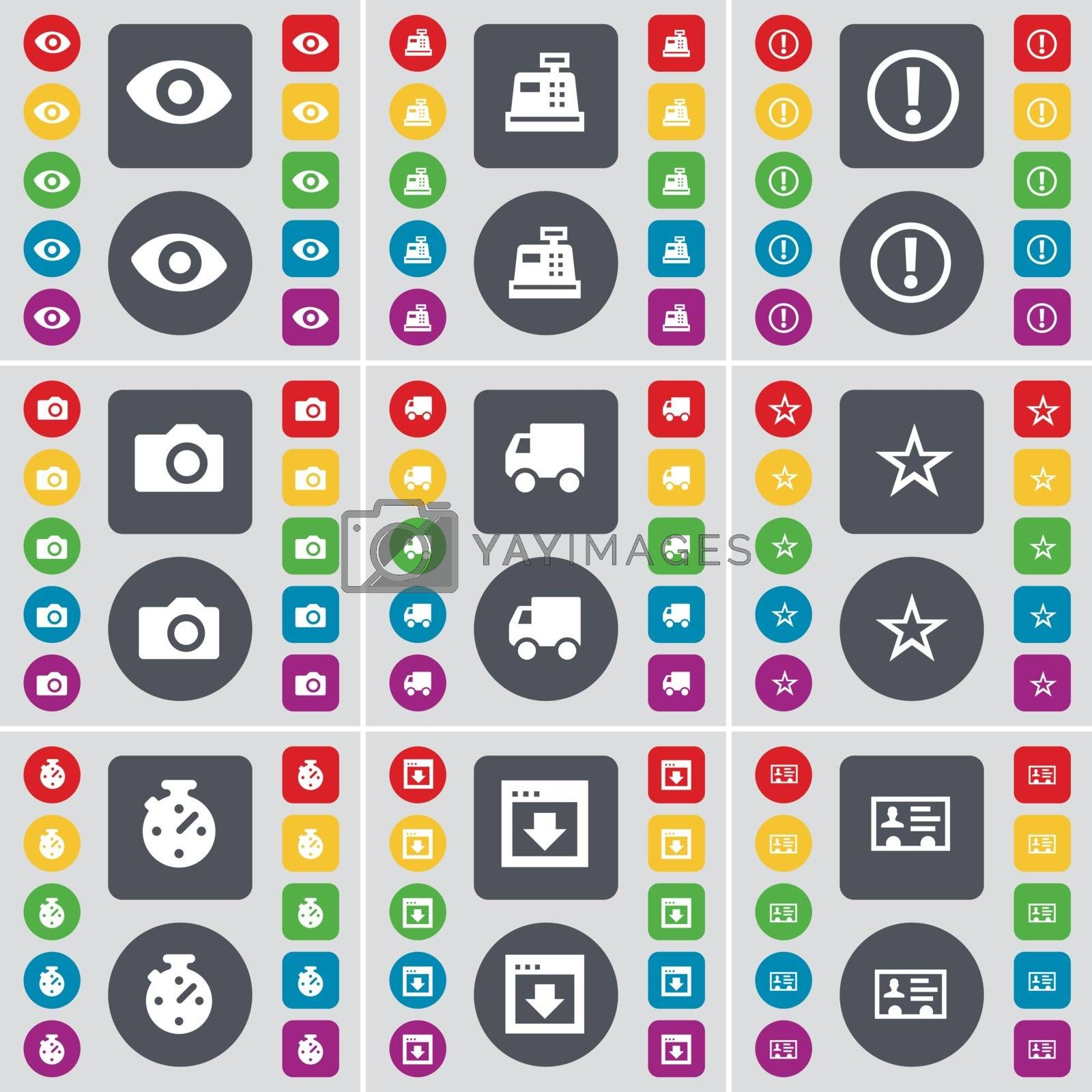 Vision, Cash register, Warning, Camera, Truck, Star, Stopwatch, Window, Contact icon symbol. A large set of flat, colored buttons for your design. Vector by serhii_lohvyniuk