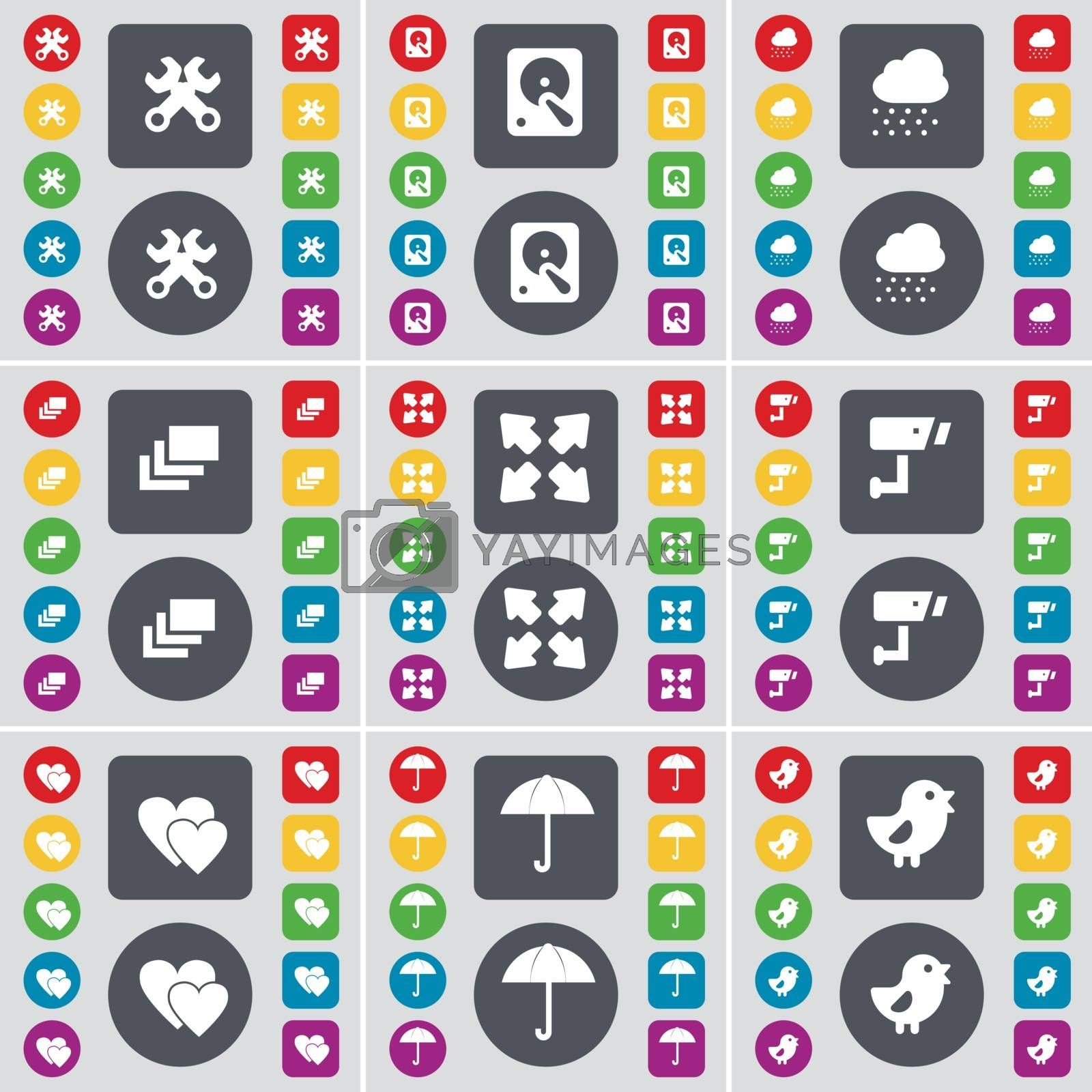 Royalty free image of Wrench, Hard drive, Cloud, Gallery, Full screen, CCTV, Heart, Umbrella, Bird icon symbol. A large set of flat, colored buttons for your design. Vector by serhii_lohvyniuk