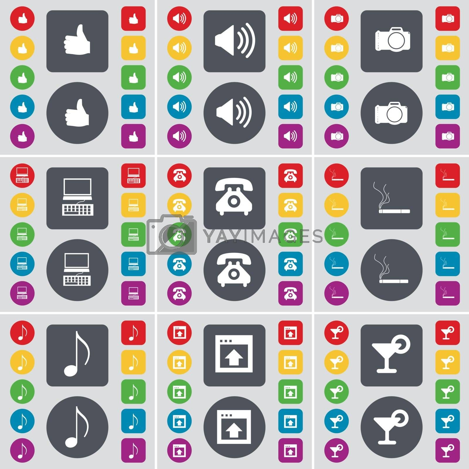 Royalty free image of Light, Sound, Camera, Laptop, Retro phone, Cigarette, Note, Window, Cocktail icon symbol. A large set of flat, colored buttons for your design. Vector by serhii_lohvyniuk