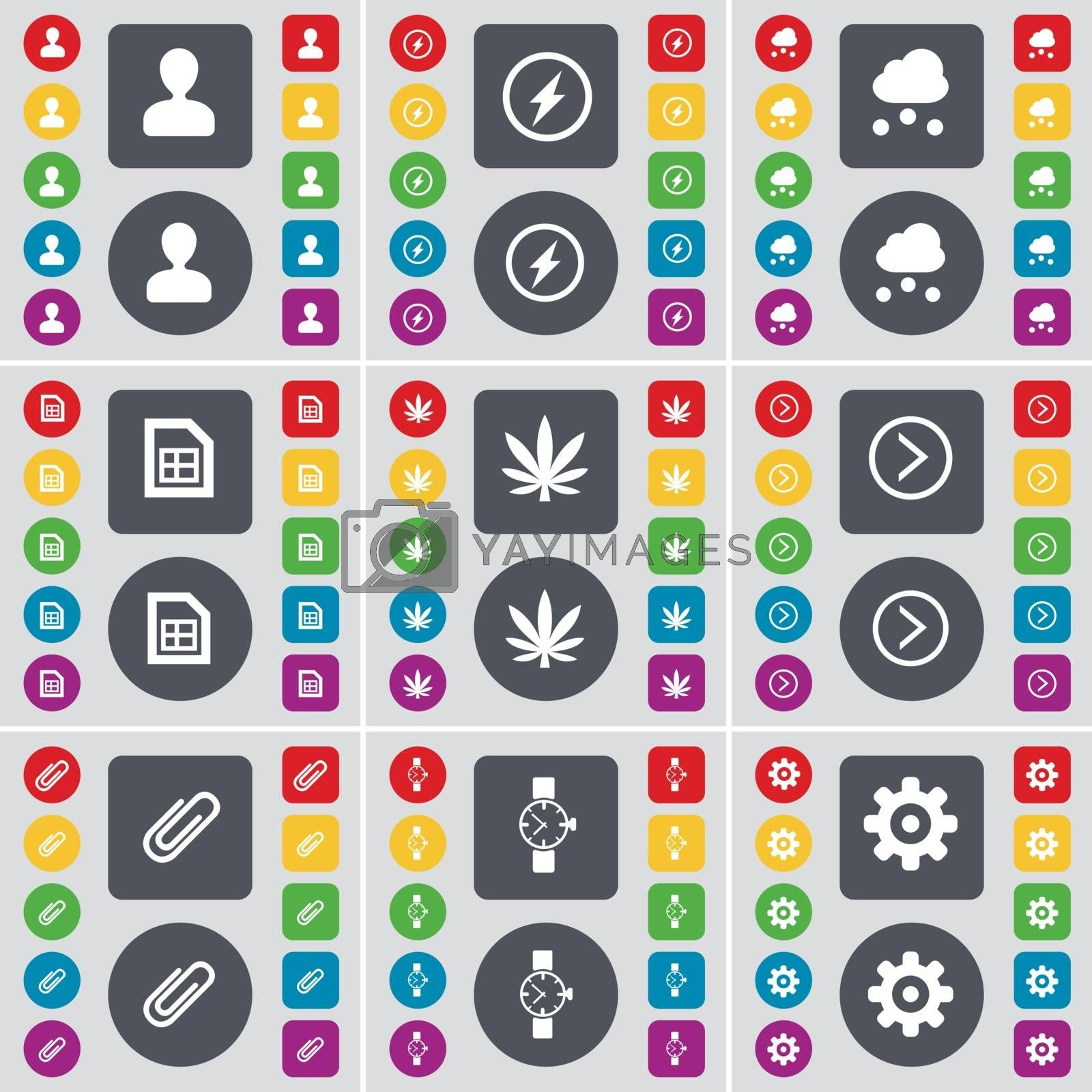 Avatar, Flash, Cloud, File, Marijuana, Arrow right, Clip, Wrist watch, Gear icon symbol. A large set of flat, colored buttons for your design. Vector by serhii_lohvyniuk