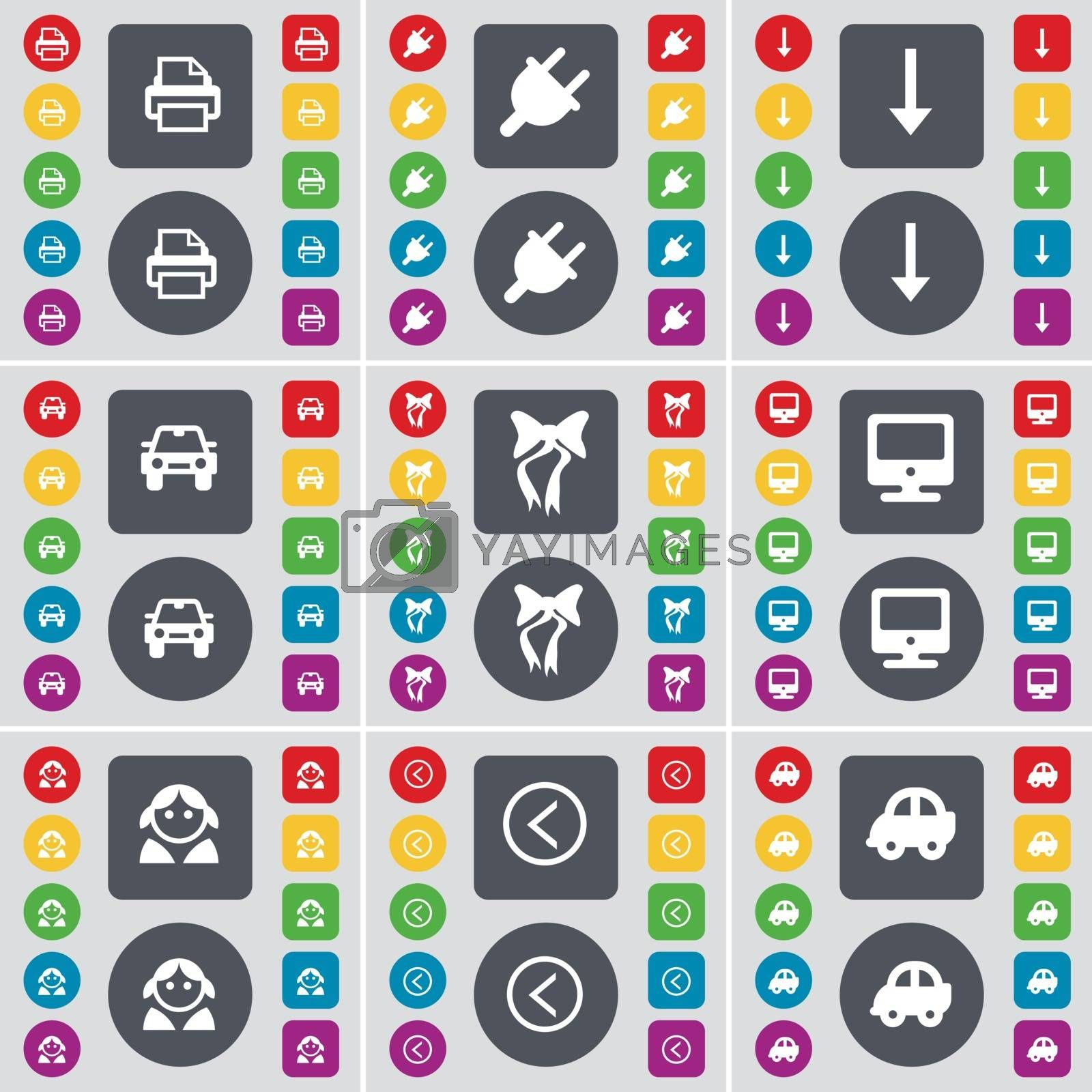 Royalty free image of Printer, Socket, Arrow down, Car, Bow, Monitor, Avatar, Arrow left, Car icon symbol. A large set of flat, colored buttons for your design. Vector by serhii_lohvyniuk