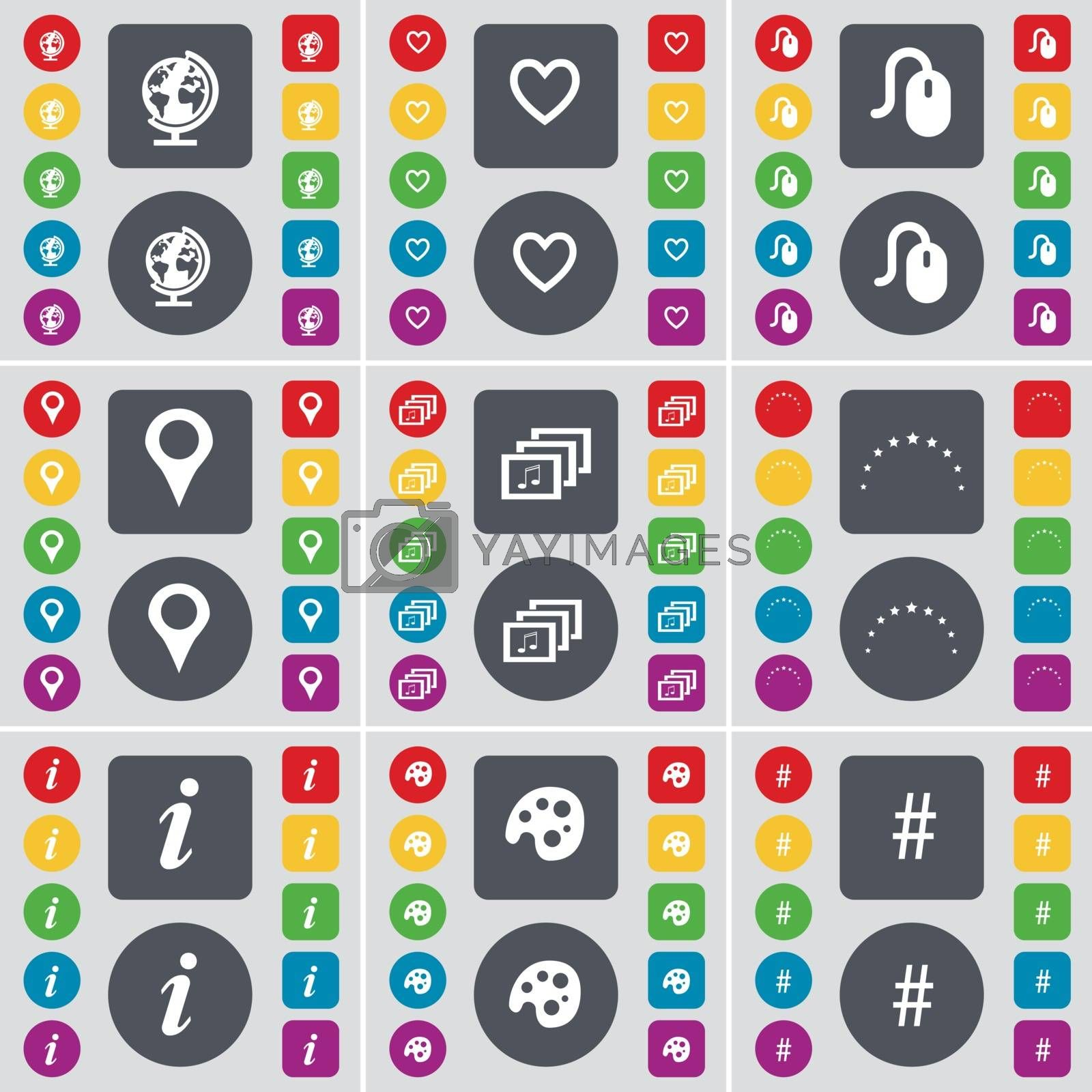 Royalty free image of Globe, Heart, Dislike, Checkpoint, Gallery, Stars, Information, Palette, Hashtag icon symbol. A large set of flat, colored buttons for your design. Vector by serhii_lohvyniuk