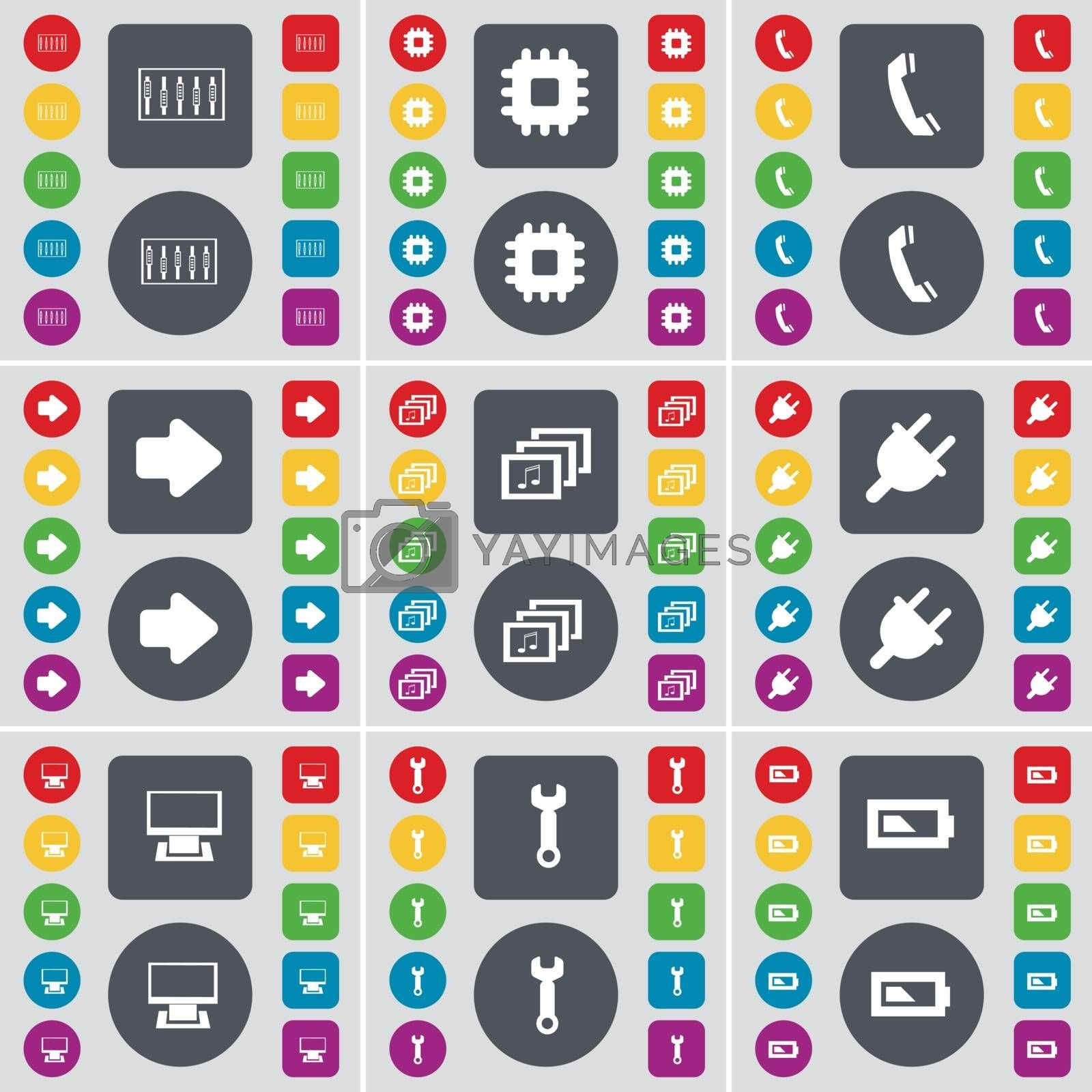 Royalty free image of Equalizer, Processor, Receiver, Arrow right, Gallery, Socket, Monitor, Wrench, Battery icon symbol. A large set of flat, colored buttons for your design. Vector by serhii_lohvyniuk