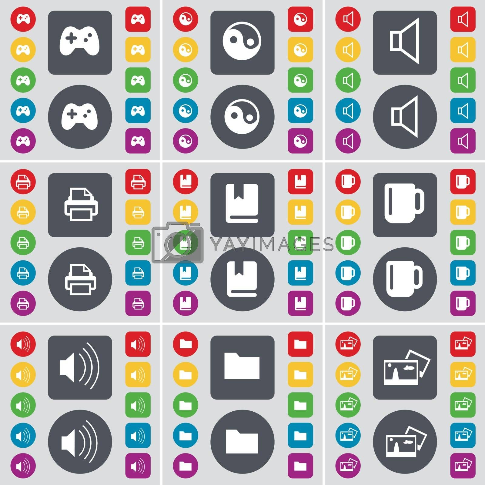 Royalty free image of Gamepad, Yin-Yang, Sound, Printer, Dictionary, Cup, Sound, Folder, Picture icon symbol. A large set of flat, colored buttons for your design. Vector by serhii_lohvyniuk