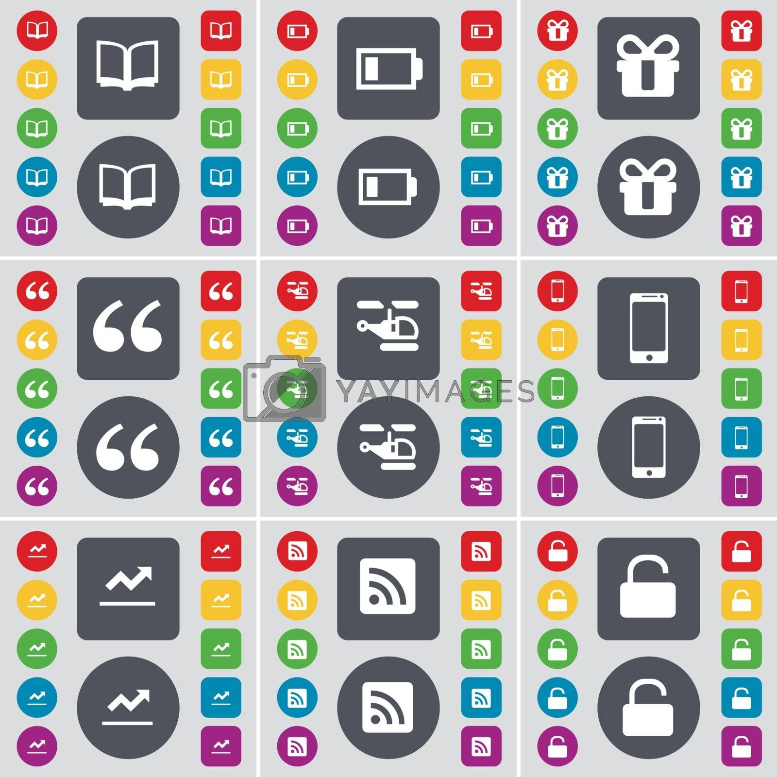 Book, Battery, Gift, Quotation mark, Helocopter, Smartphone, Graph, RSS, Lock icon symbol. A large set of flat, colored buttons for your design. Vector by serhii_lohvyniuk