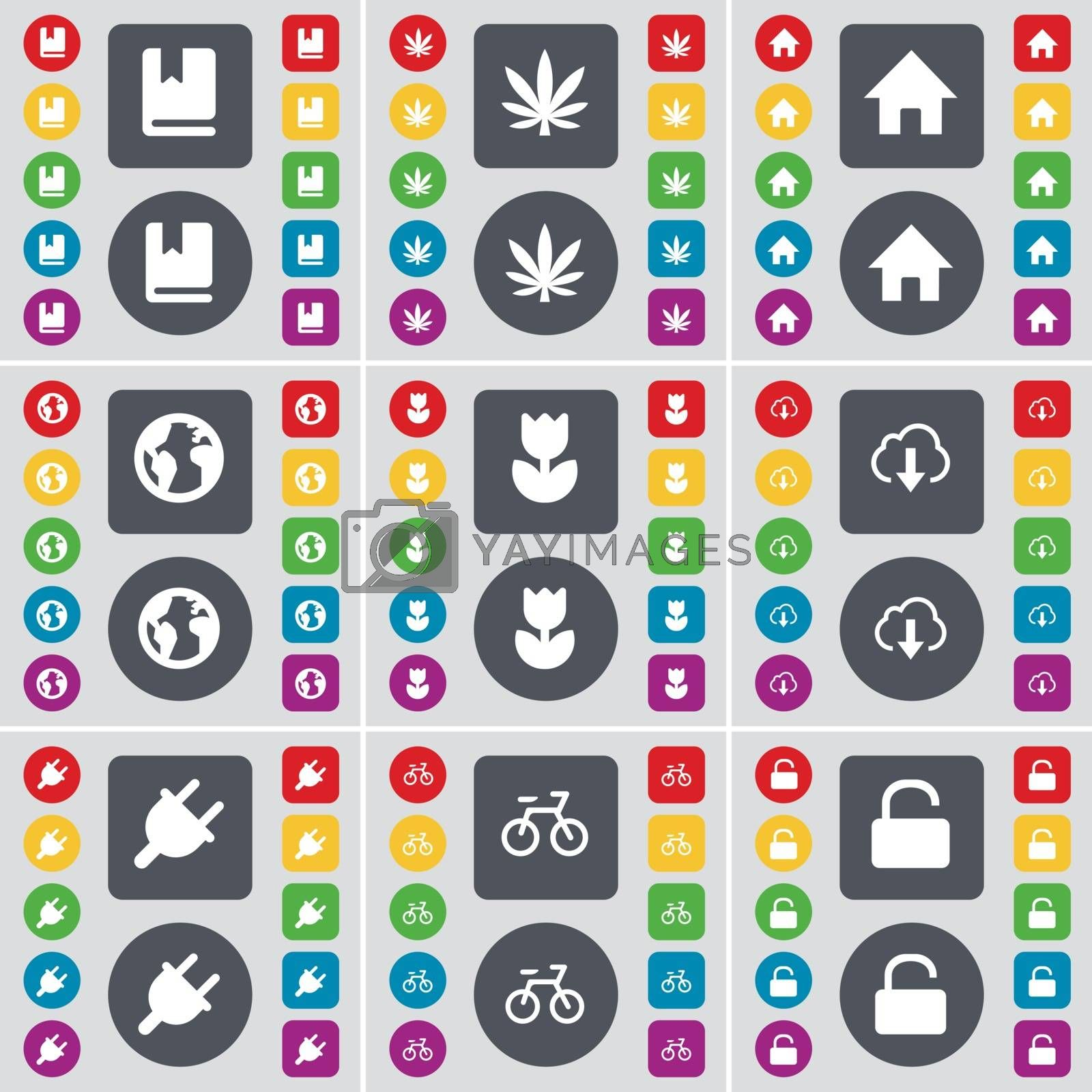 Royalty free image of Dictionary, Marijuana, House, Earth, Folder, Cloud, Socket, Bicycle, Lock icon symbol. A large set of flat, colored buttons for your design. Vector by serhii_lohvyniuk