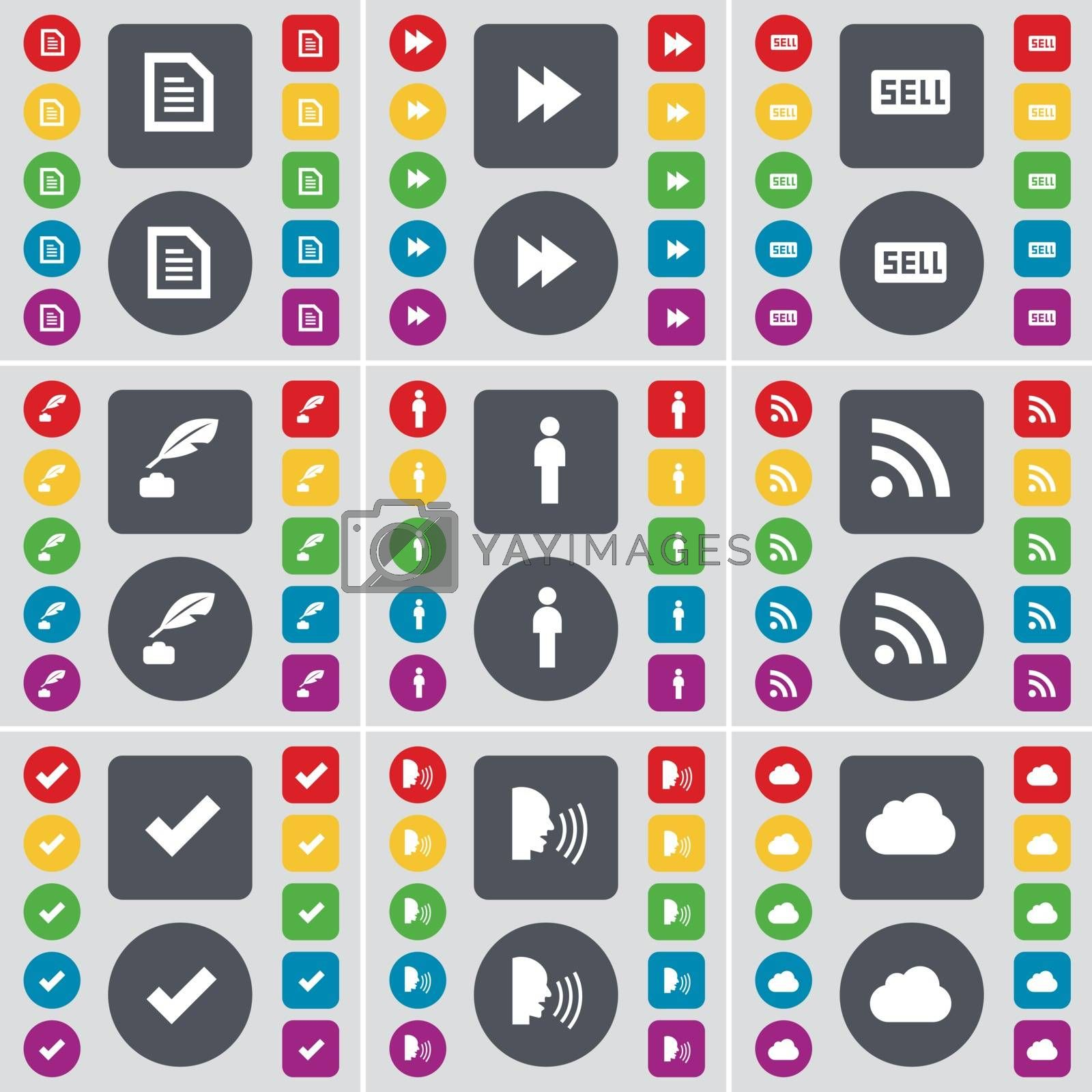 Royalty free image of Text file, Rewind, Sell, Ink pot, Silhouette, RSS, Tick, Talk, Cloud icon symbol. A large set of flat, colored buttons for your design. Vector by serhii_lohvyniuk