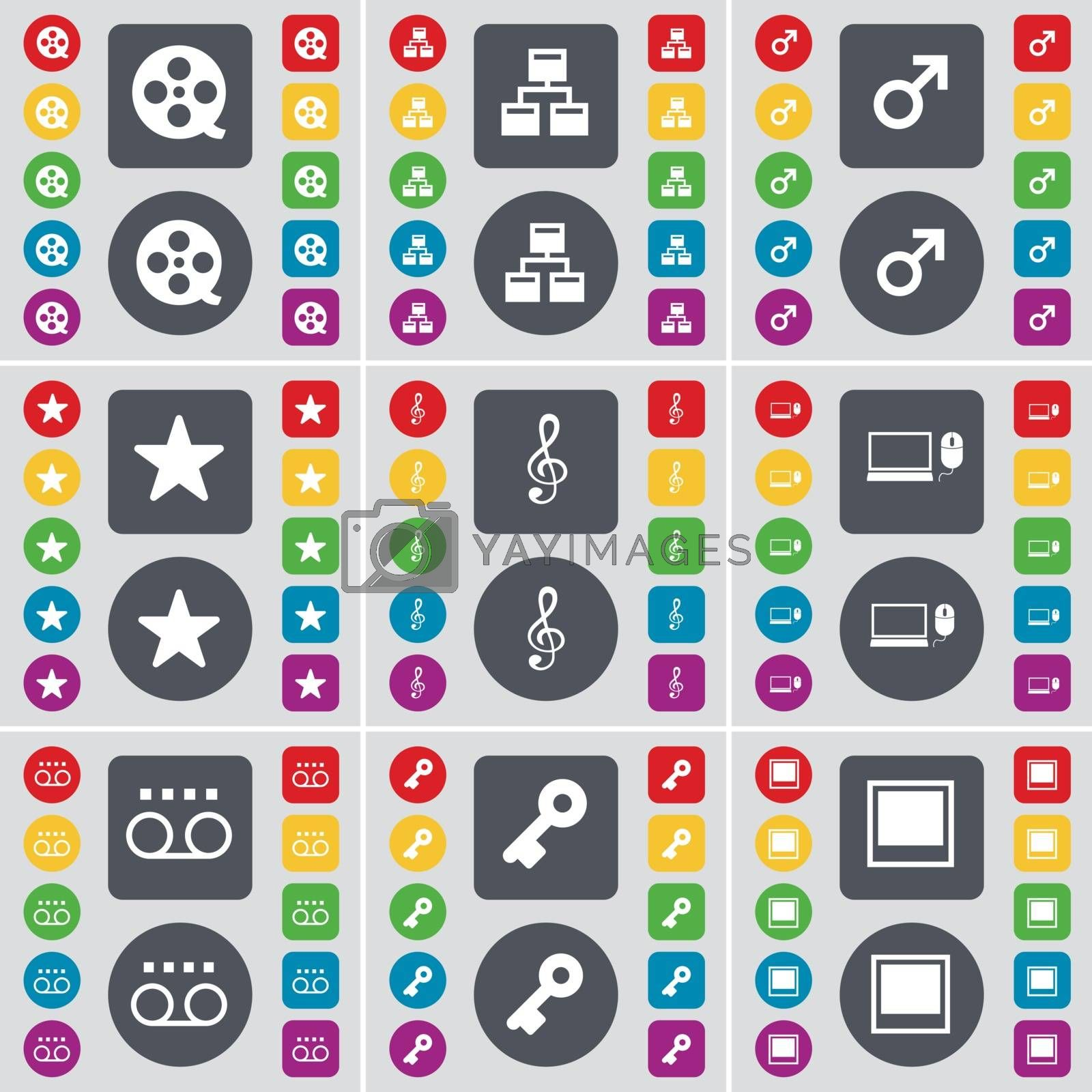 Royalty free image of Vision, Network, Mars cursor, Star, Clef, Laptop, Cassette, Key, Window icon symbol. A large set of flat, colored buttons for your design. Vector by serhii_lohvyniuk