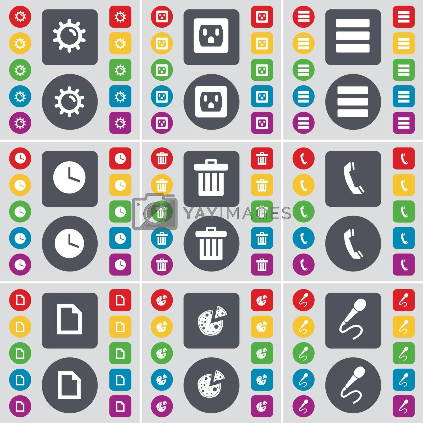 Royalty free image of Gear, Socket, Apps, Clock, Trash can, Receiver, File, Pizza, Microphone icon symbol. A large set of flat, colored buttons for your design. Vector by serhii_lohvyniuk