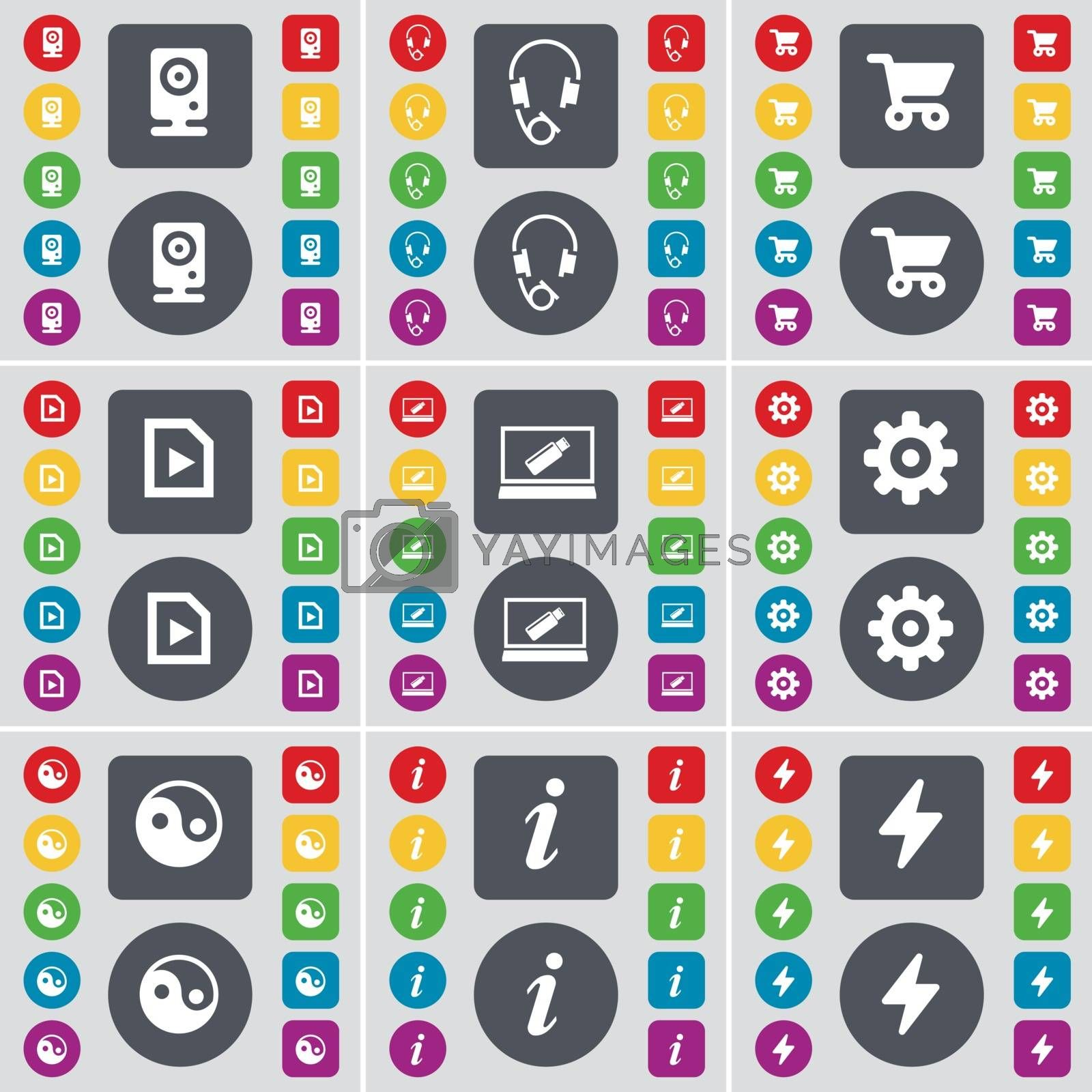 Royalty free image of Speaker, Headphones, Shopping cart, Media file, Laptop, Gear, Yin-Yang, Information, Flash icon symbol. A large set of flat, colored buttons for your design. Vector by serhii_lohvyniuk