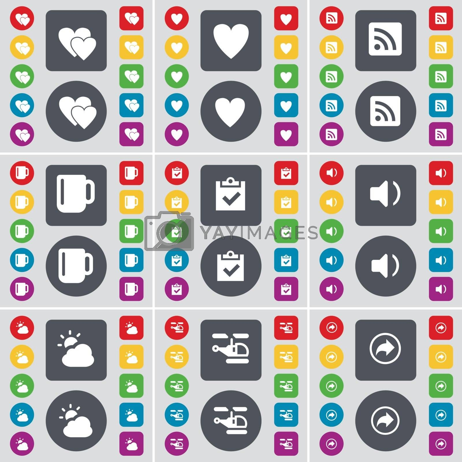 Royalty free image of Heart, RSS, Cup, Survey, Sound, Cloud, Helicopter, Back icon symbol. A large set of flat, colored buttons for your design. Vector by serhii_lohvyniuk