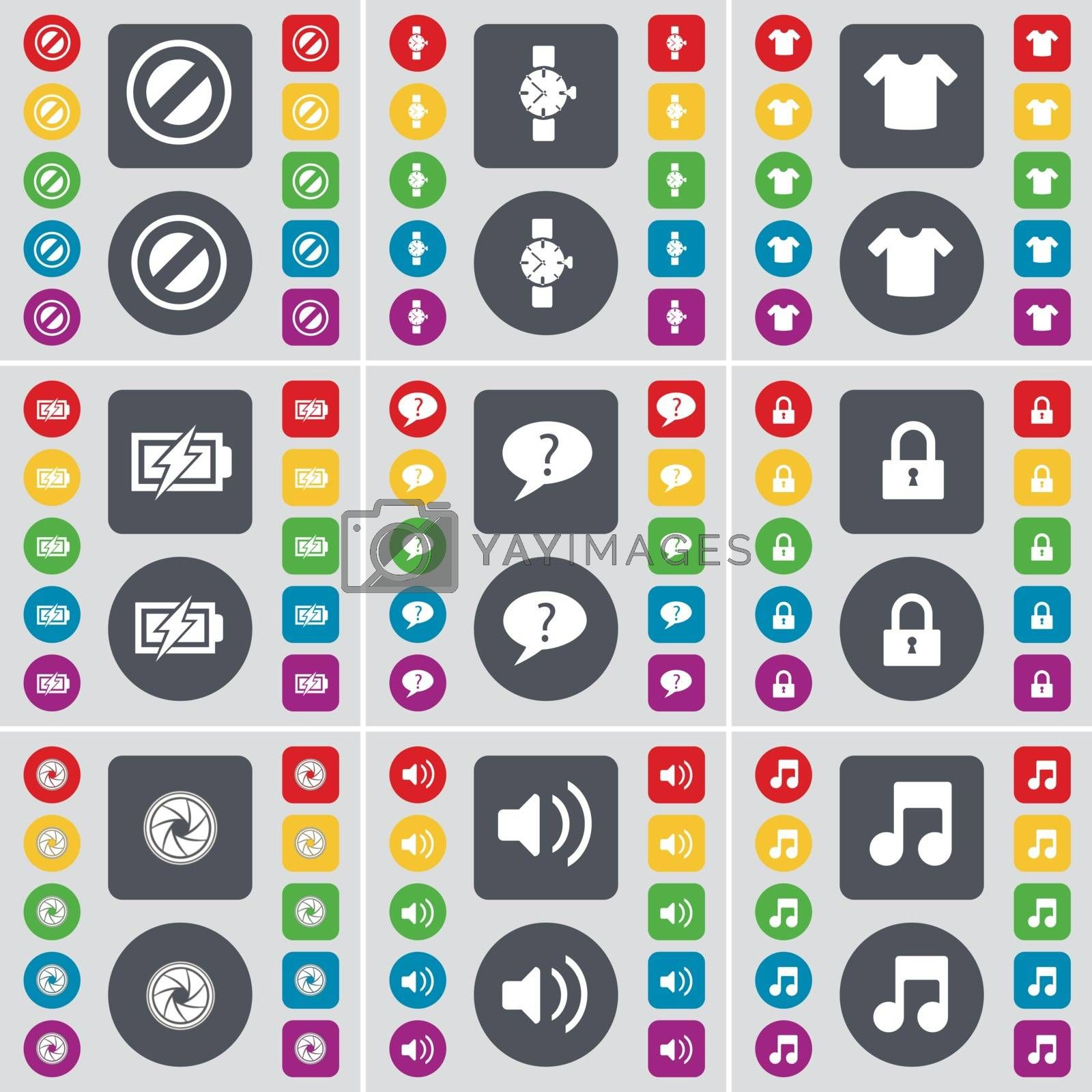 Royalty free image of Stop, Wrist watch, T-Shirt, Charging, Chat bubble, Lock, Lens, Sound, Note icon symbol. A large set of flat, colored buttons for your design. Vector by serhii_lohvyniuk