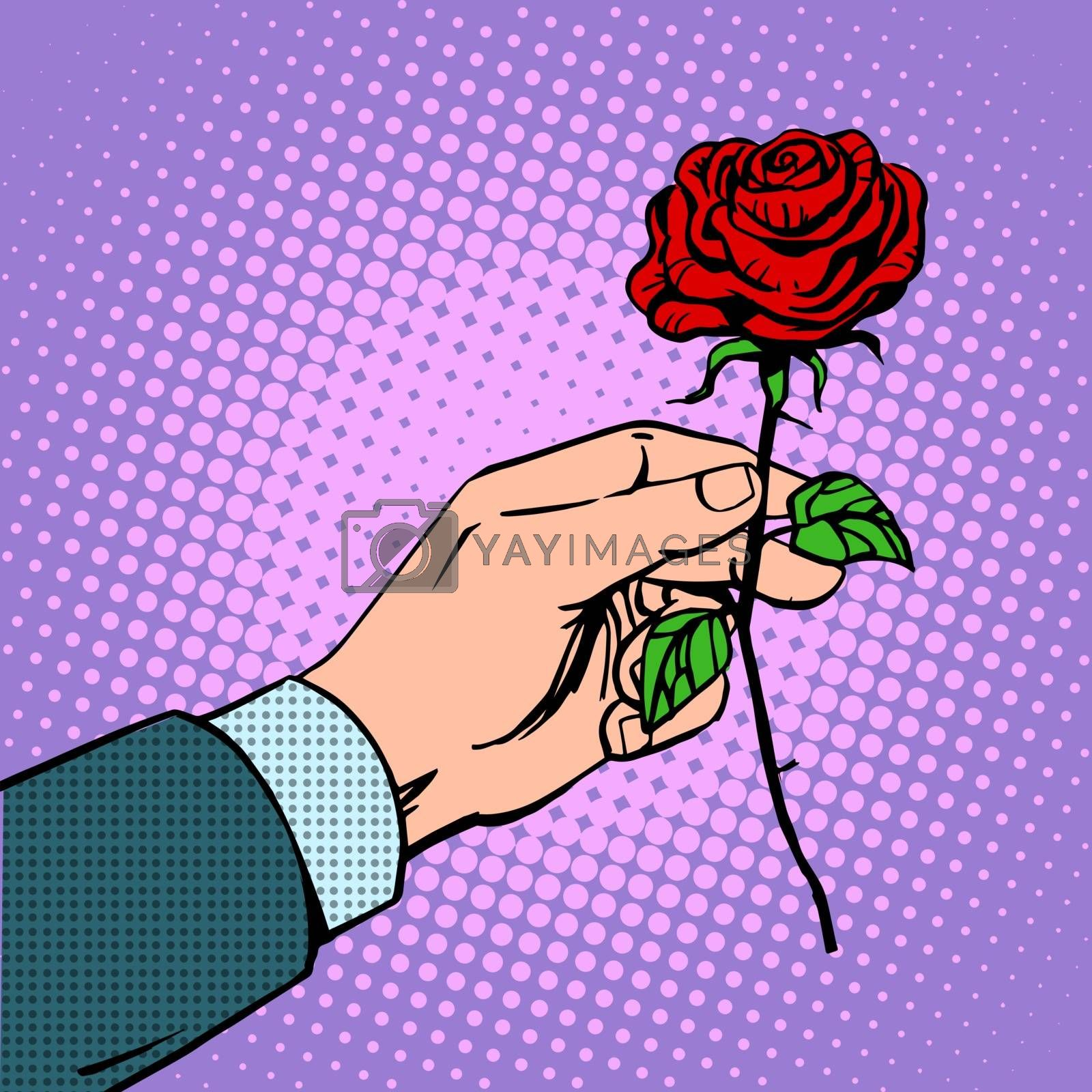 The man gives a flower rose love romance Dating red. Retro style pop art vintage