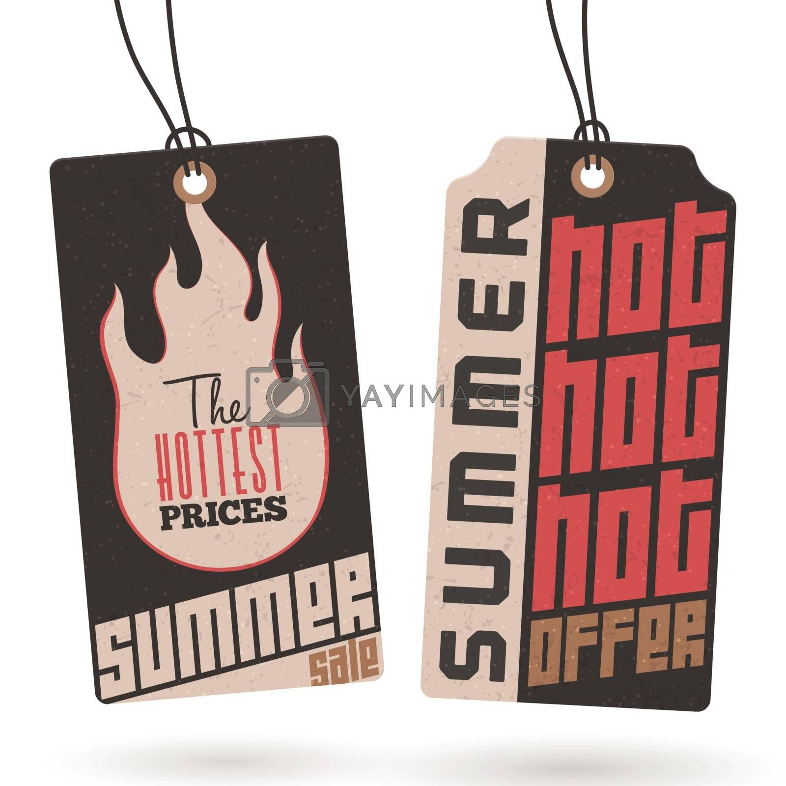 Pair of summer sale tags.