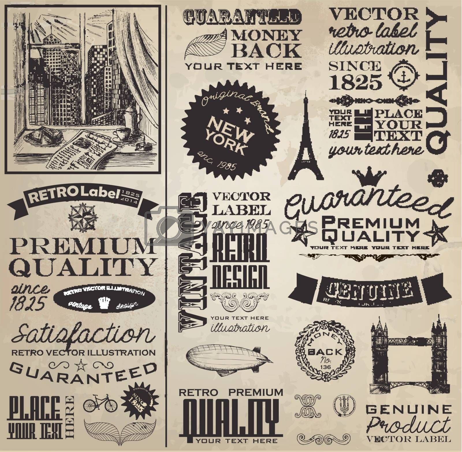 Collection of colorful retro labels and stickers.