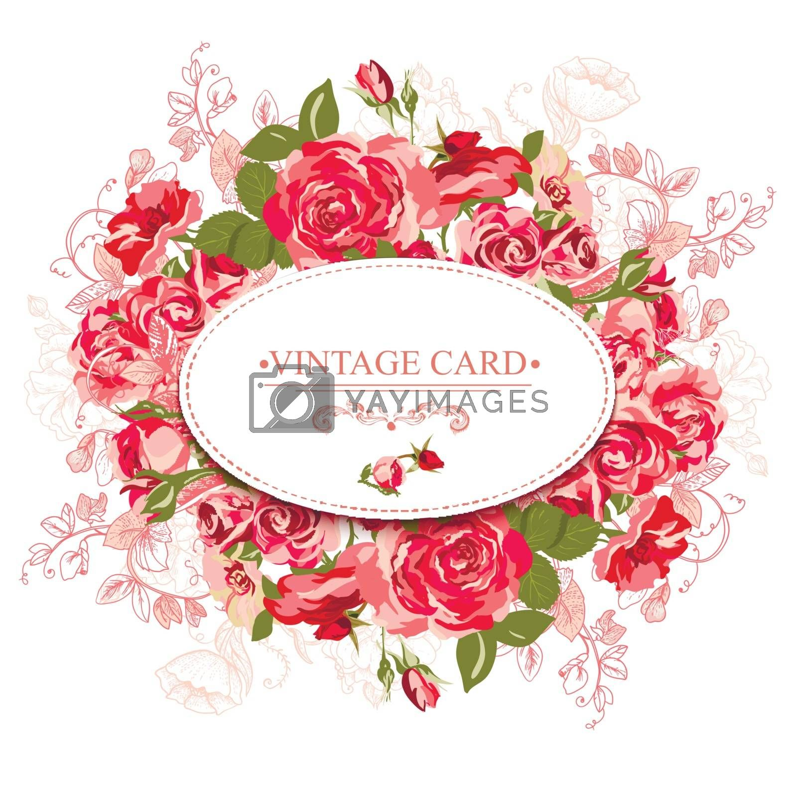 Vintage card with roses.