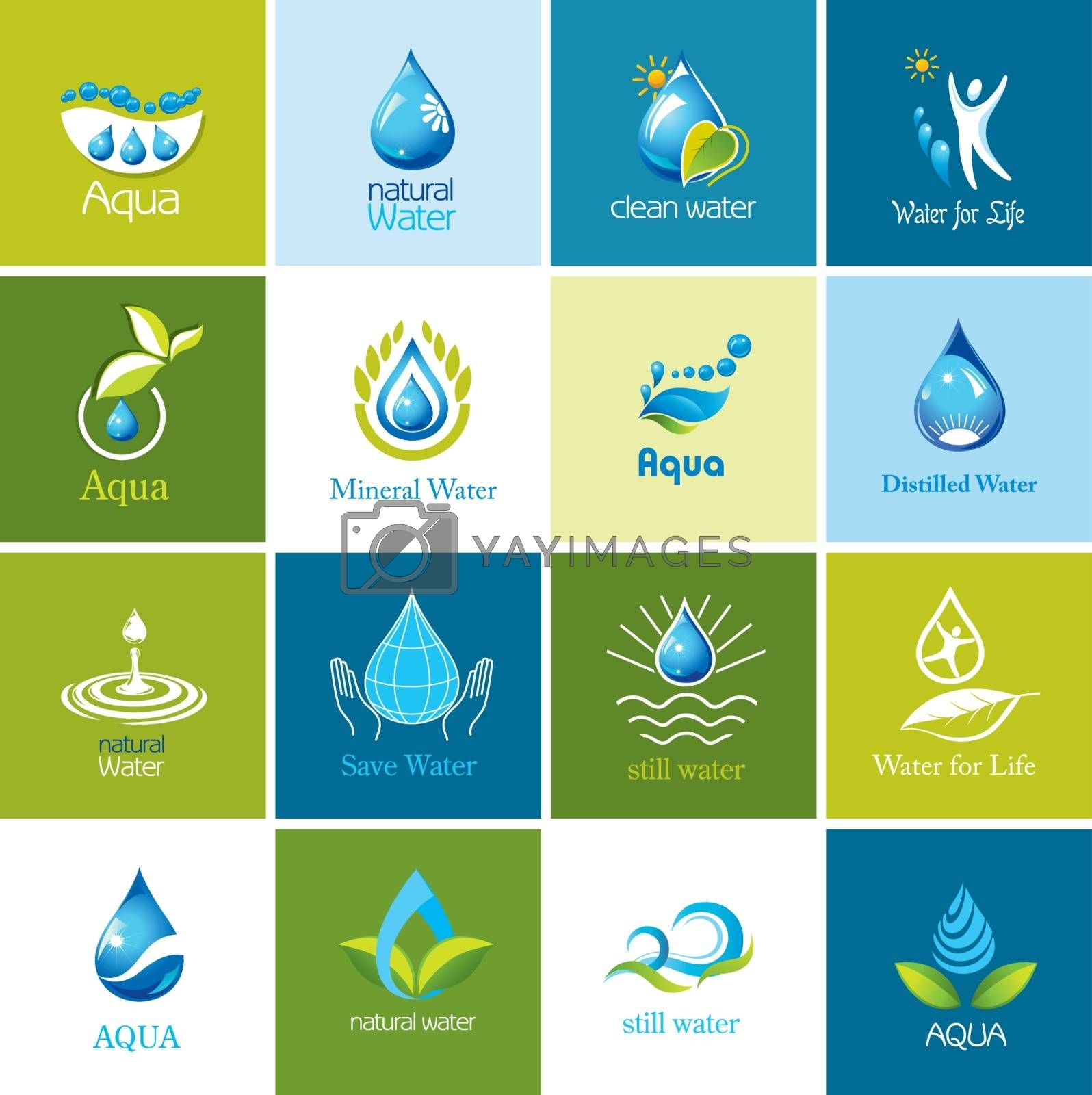 Set of water symbols and logos.