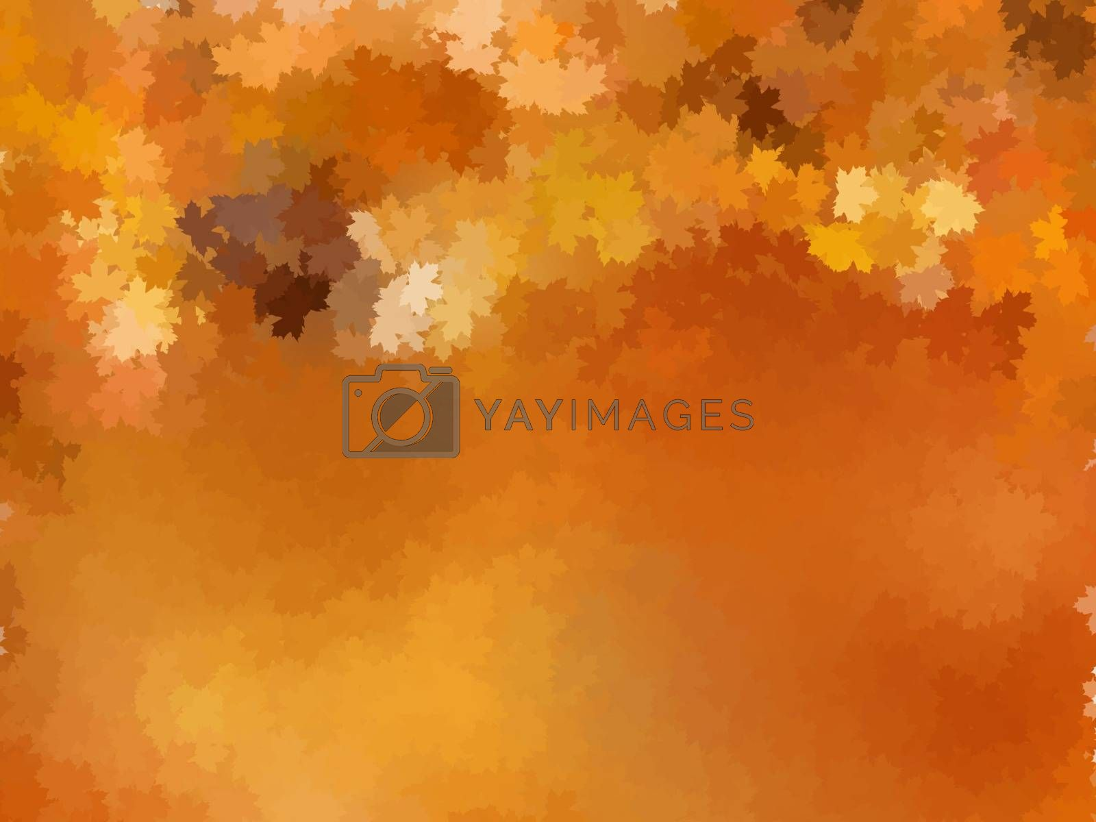 Vector illustration with a colorful autumn landscape.