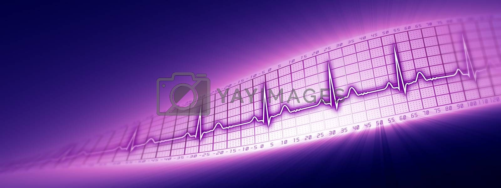 Heart rate with ECG graph on the futuristic medical monitor in the cyberspace. 3D background