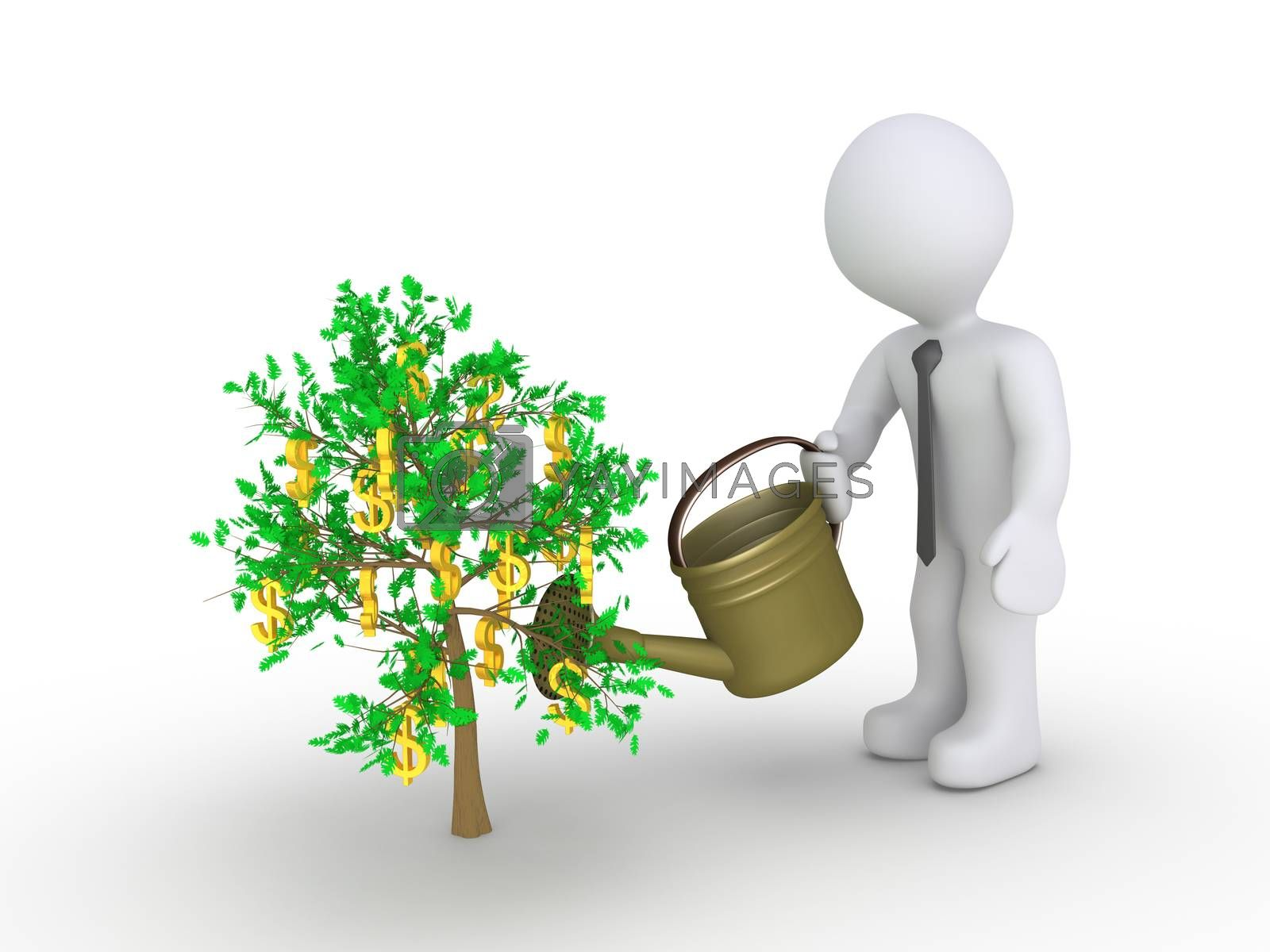 Businessman holding a watering can is about to water the plant with dollars hanging from it