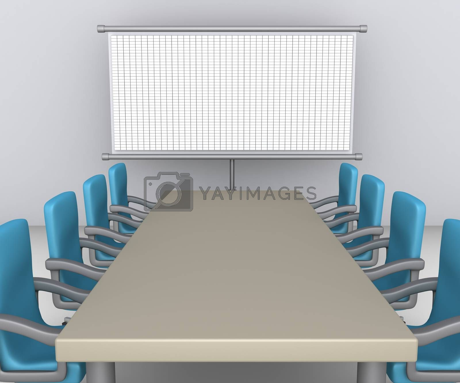 Table and empty armchairs are in front of whiteboard with grid