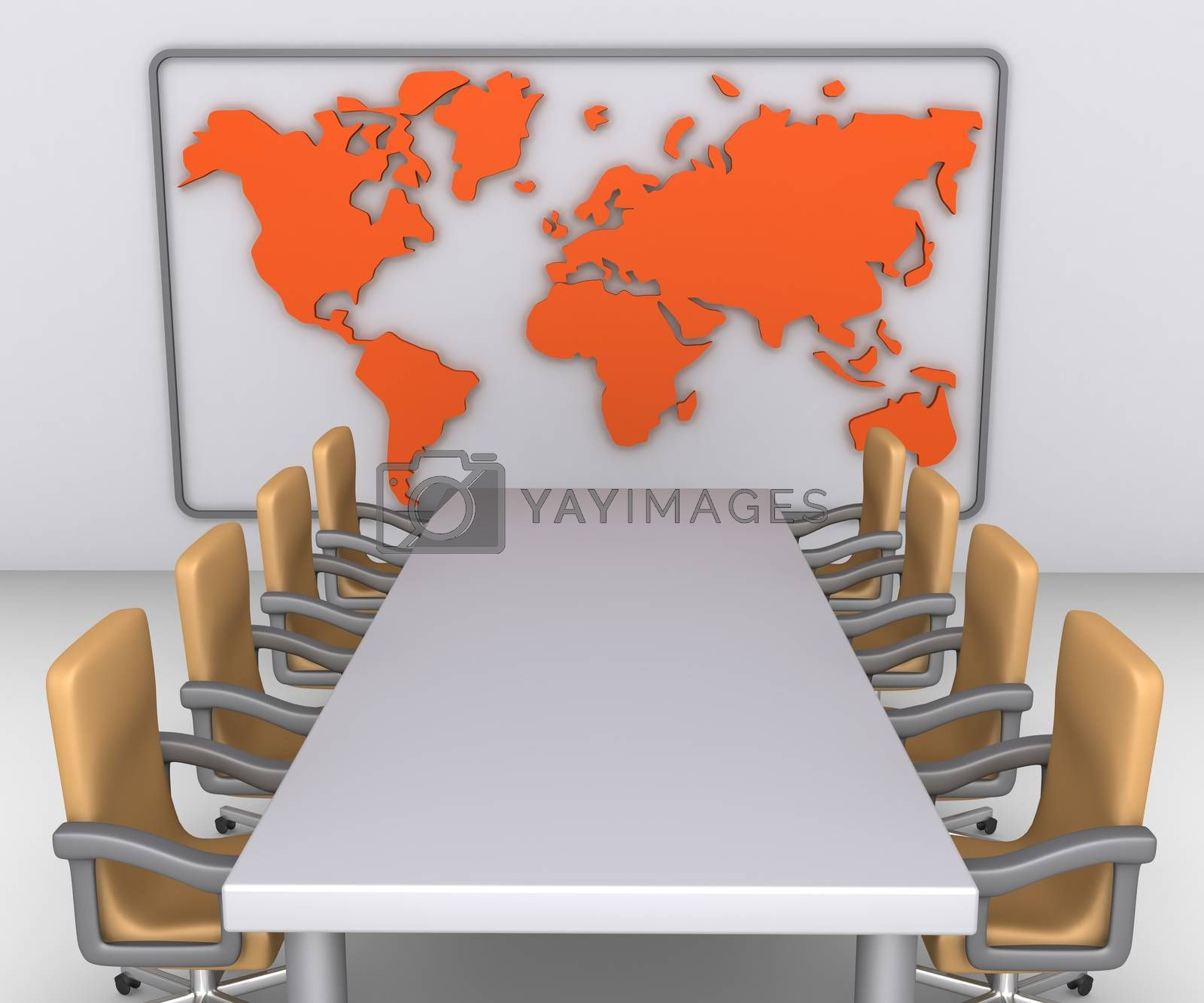Table and empty armchairs are in front of wall with the world map on it