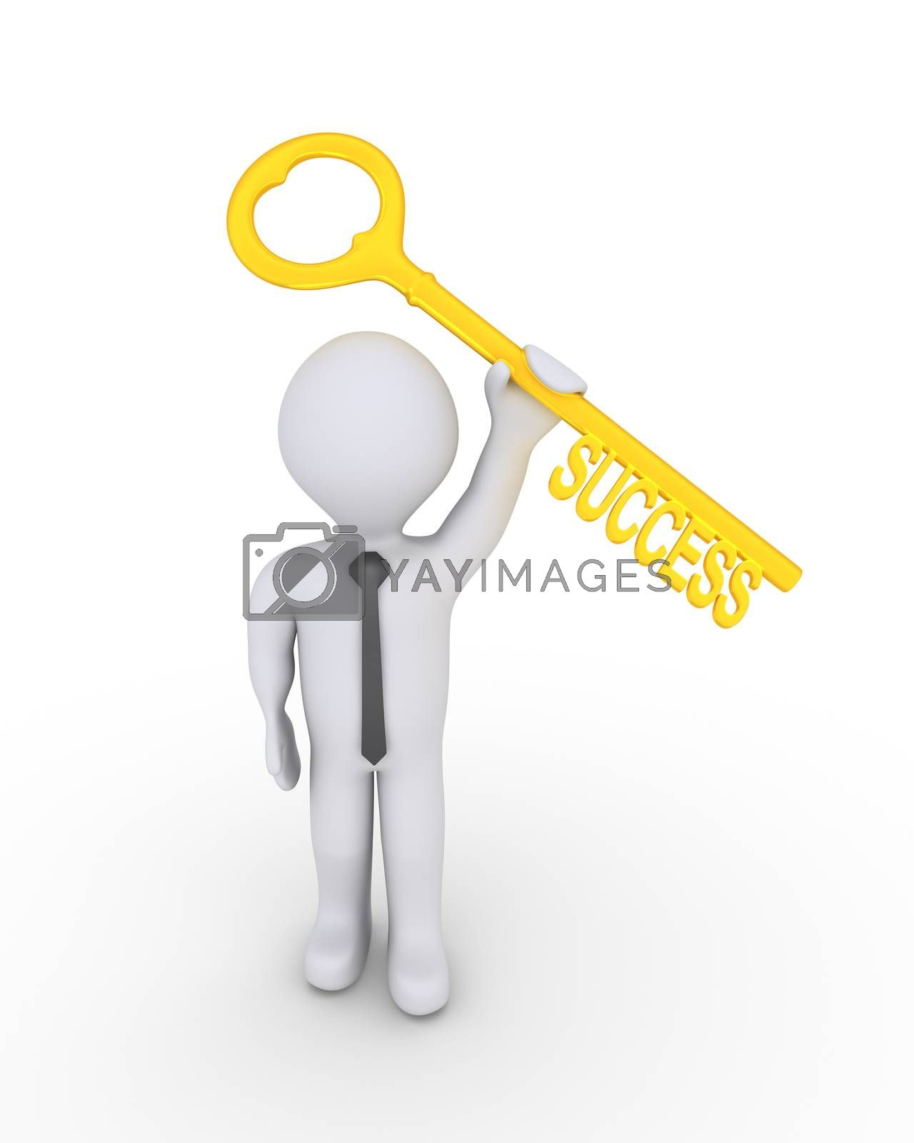 Businessman is holding high a key with the success word on it