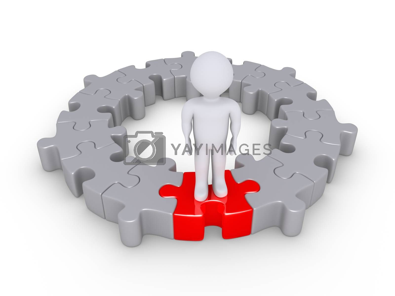 Connected puzzle pieces form a circle and a person is standing on one of different color
