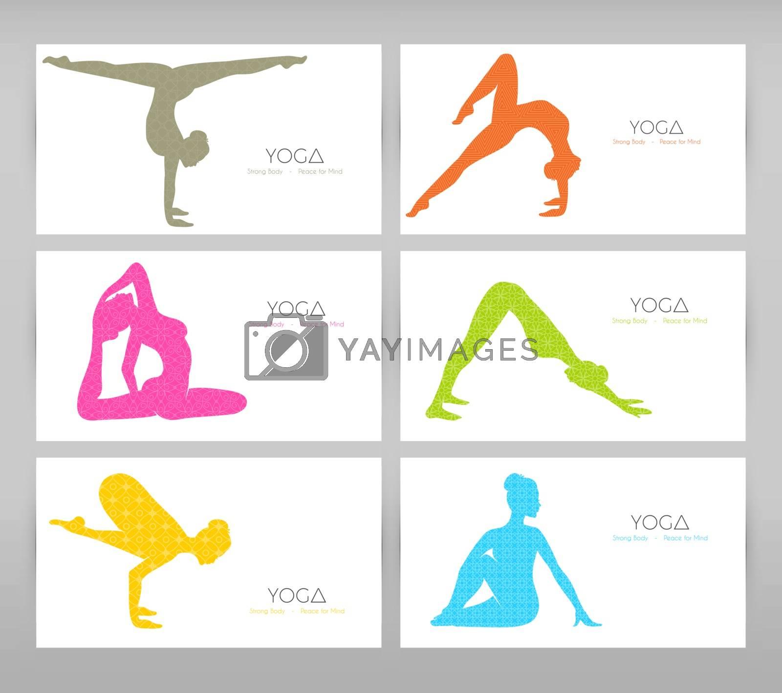 Vector illustration of Women doing yoga asanas