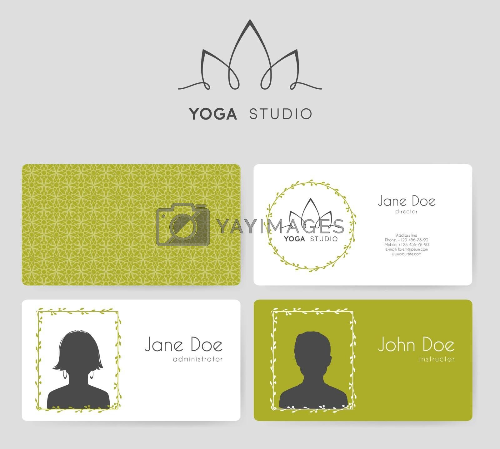 Vector illustration of Logo and business cards for yoga studio