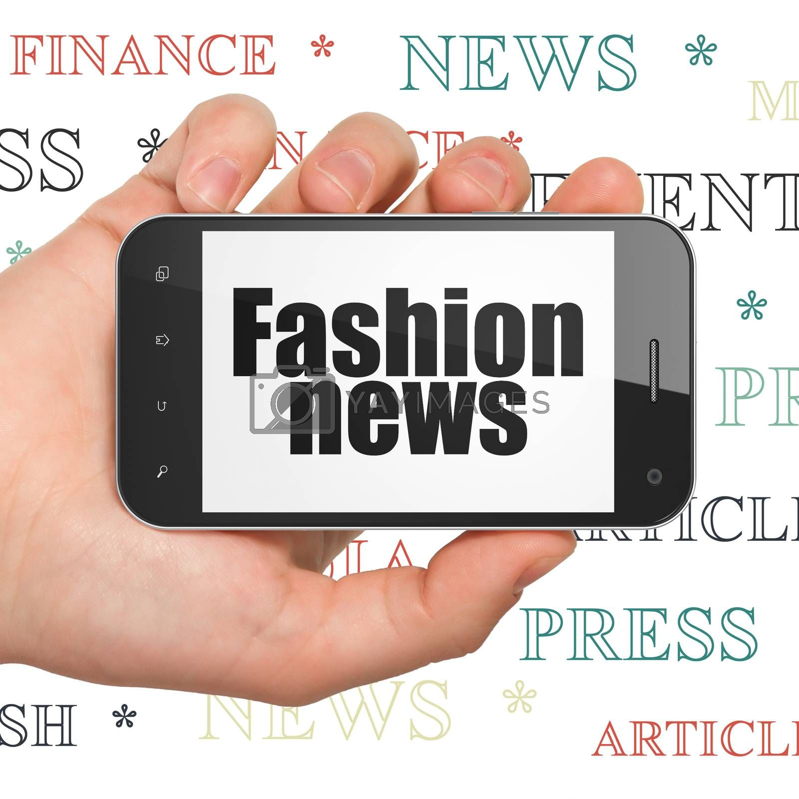 News concept: Hand Holding Smartphone with  black text Fashion News on display,  Tag Cloud background