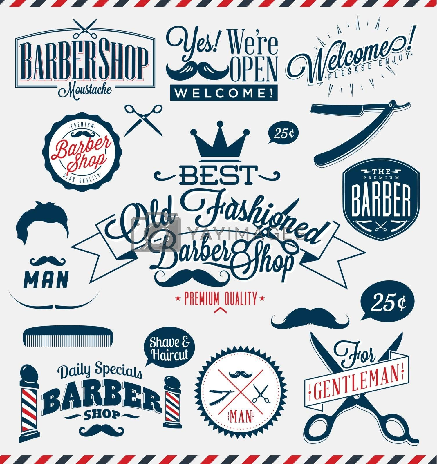Set of retro barber shop icons in vector format.