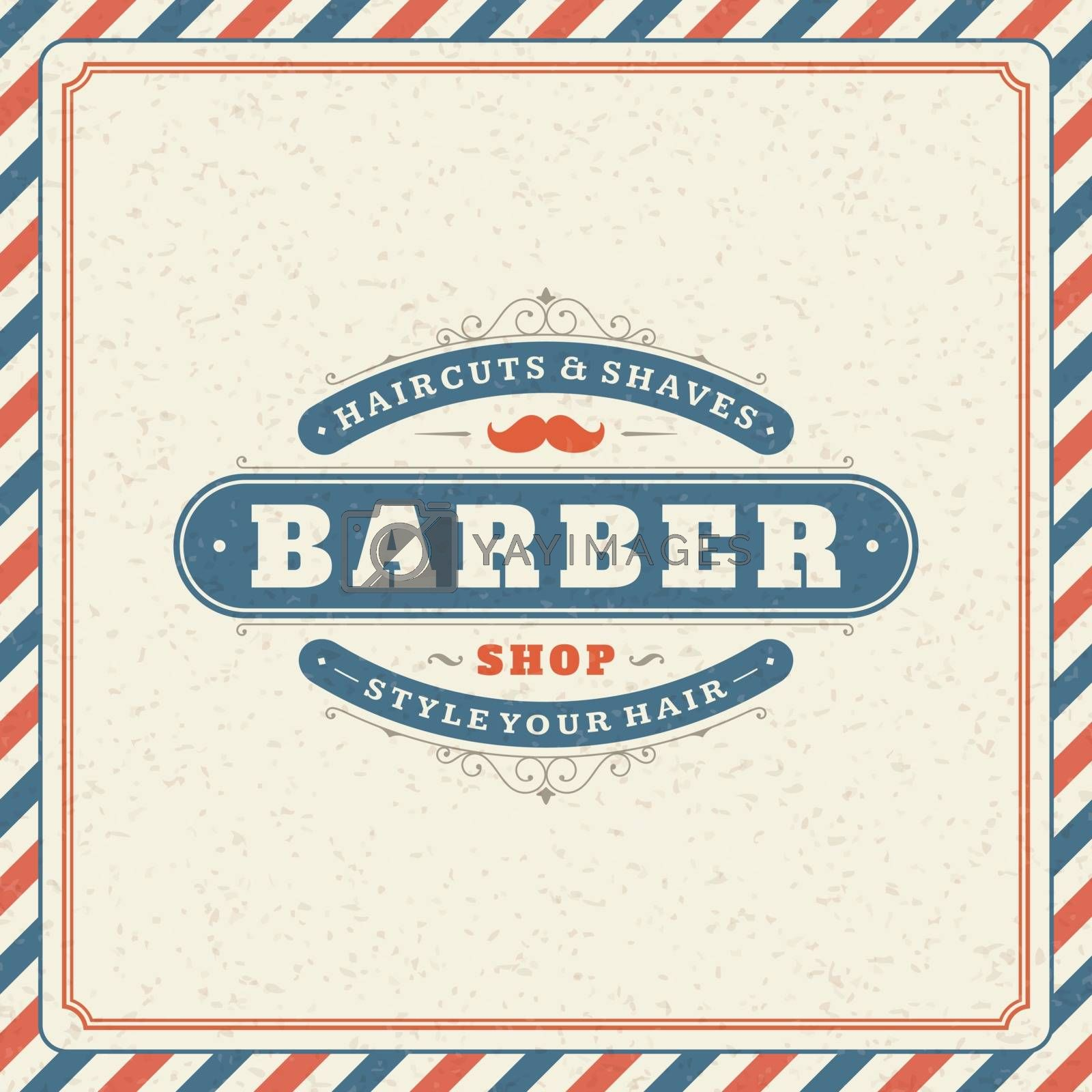 Retro barber shop background with logo in vector format.
