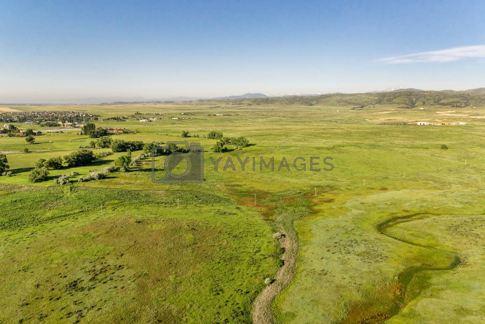 aerial view of foothills prairie along Front Range of Rocky Mountains near Fort Collins, Colorado, early summer scenery