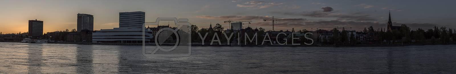 Umeå, Sweden at Sunset panorama image.