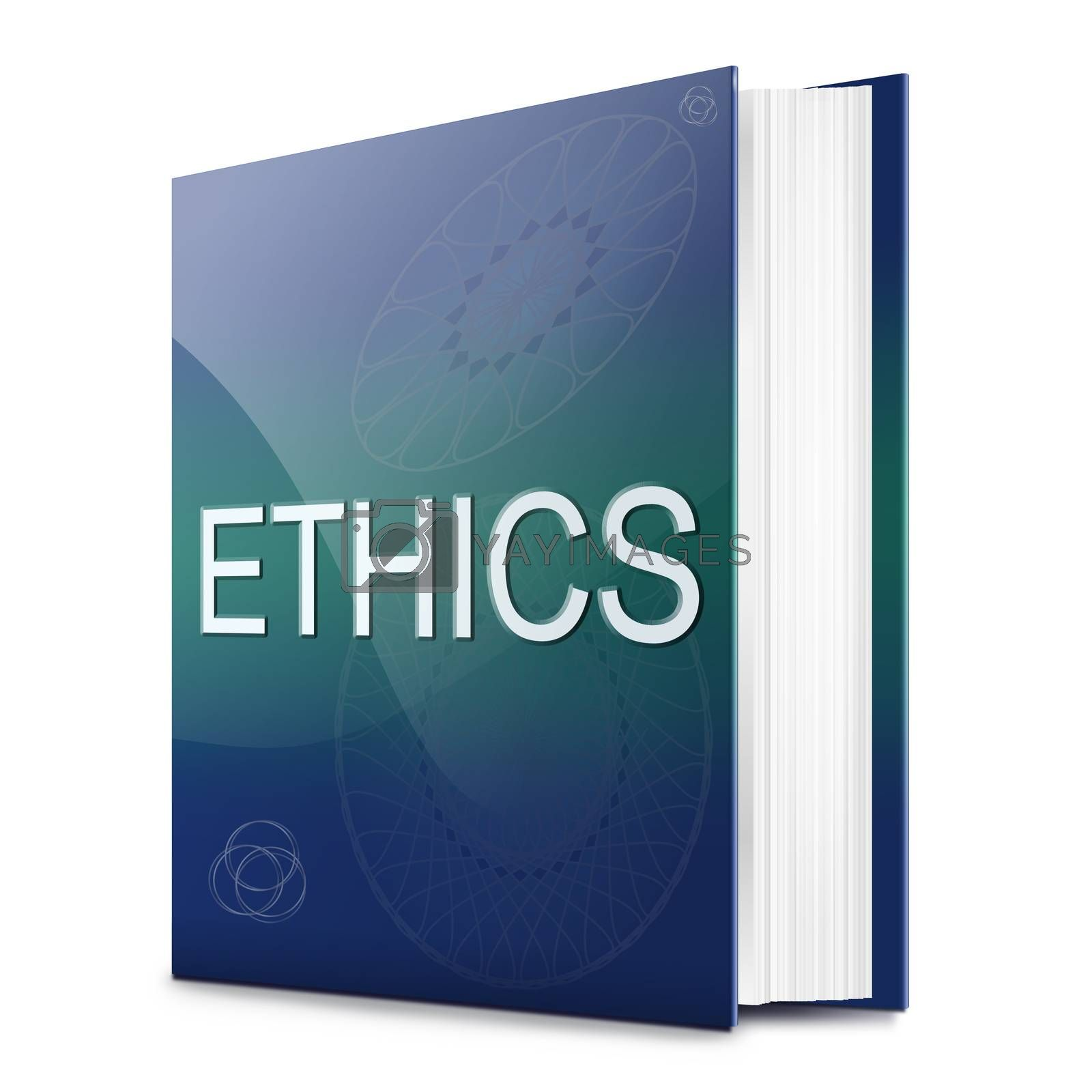 Illustration depicting a text book with an ethics concept title. White background.