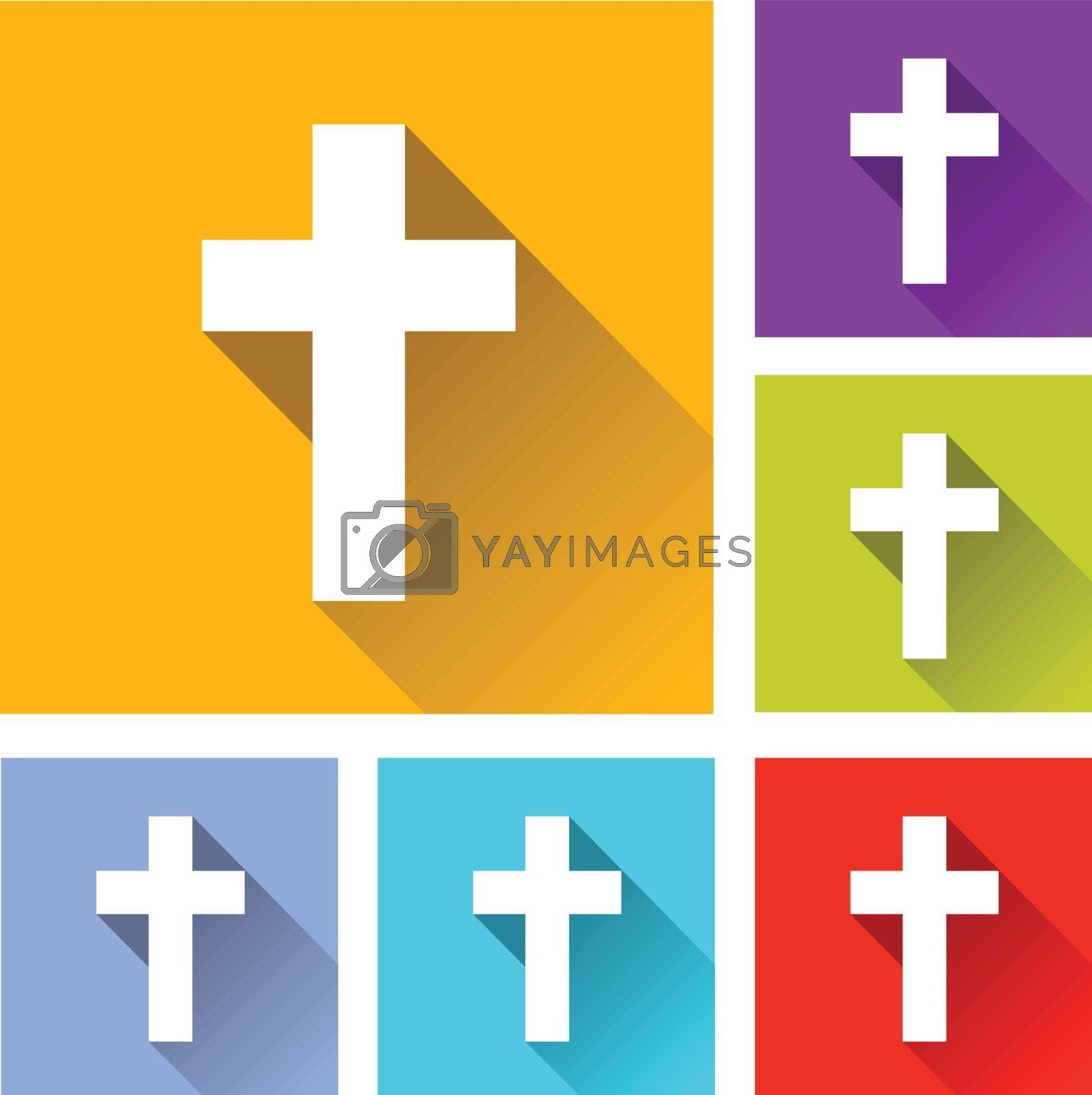 illustration of colorful square christian cross icons