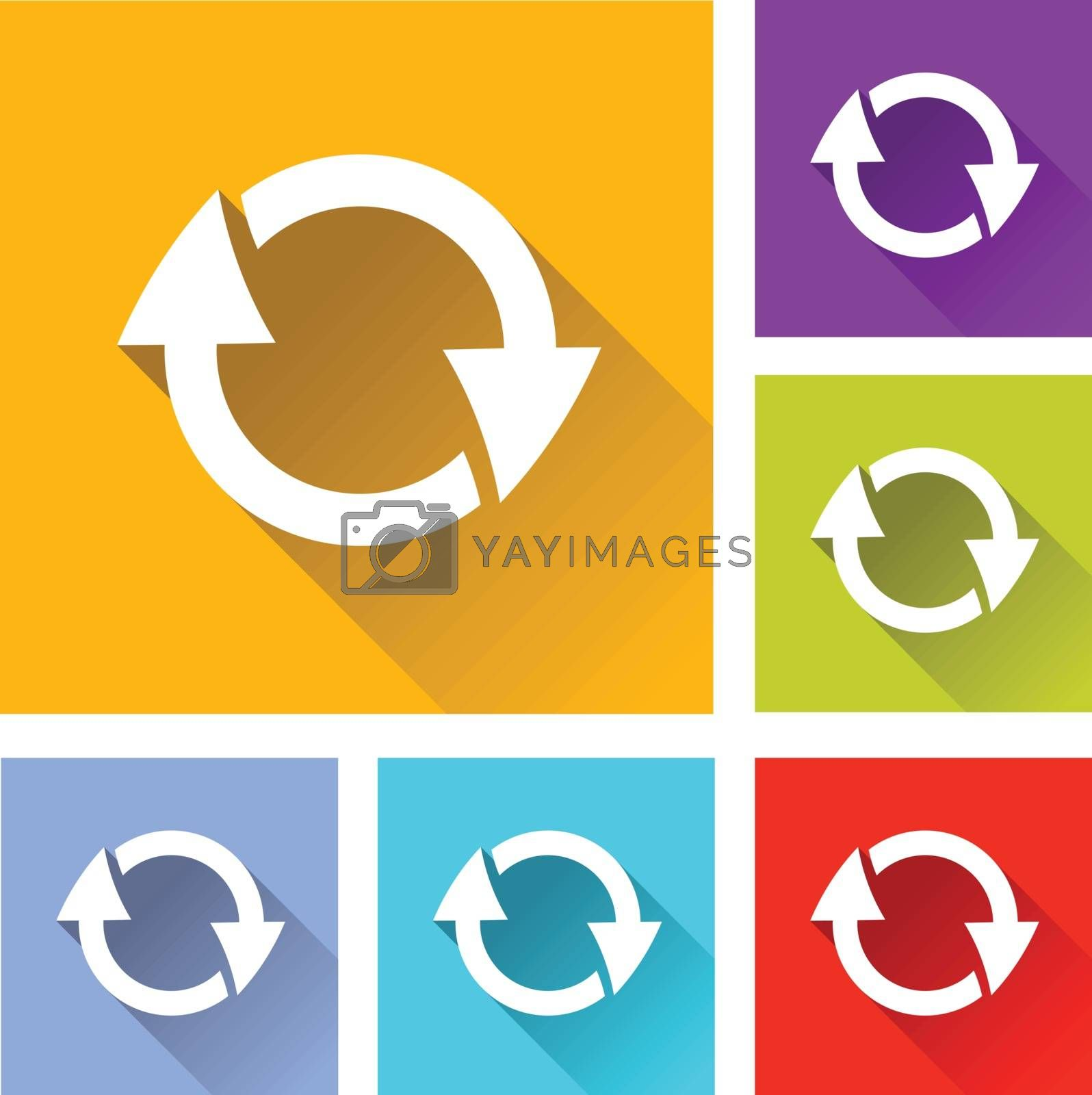 illustration of colorful square reload icons set