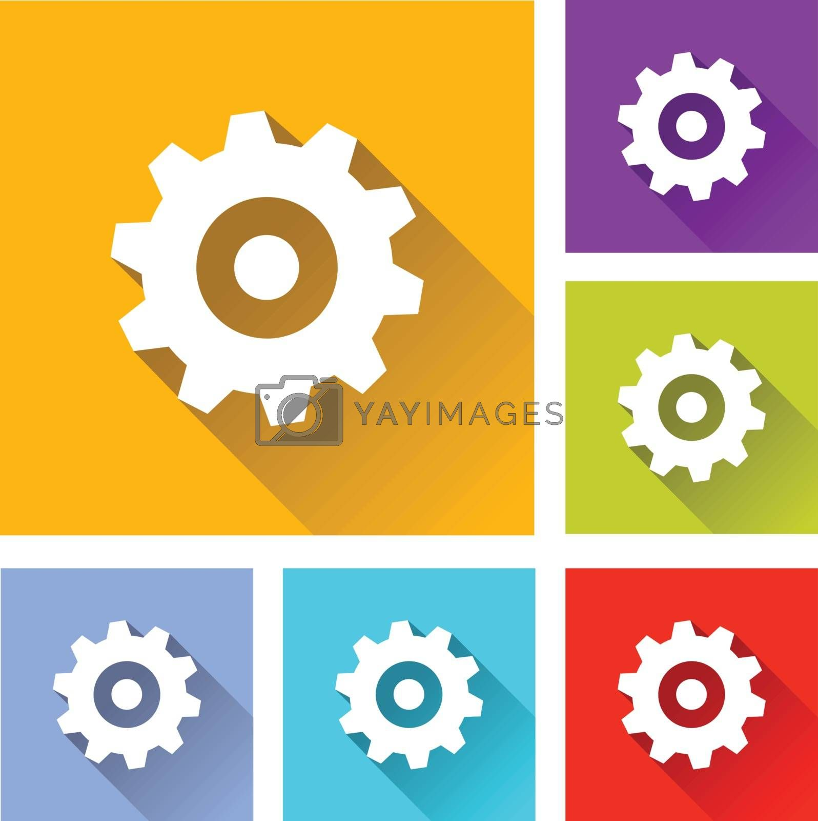 illustration of colorful square gear icons set