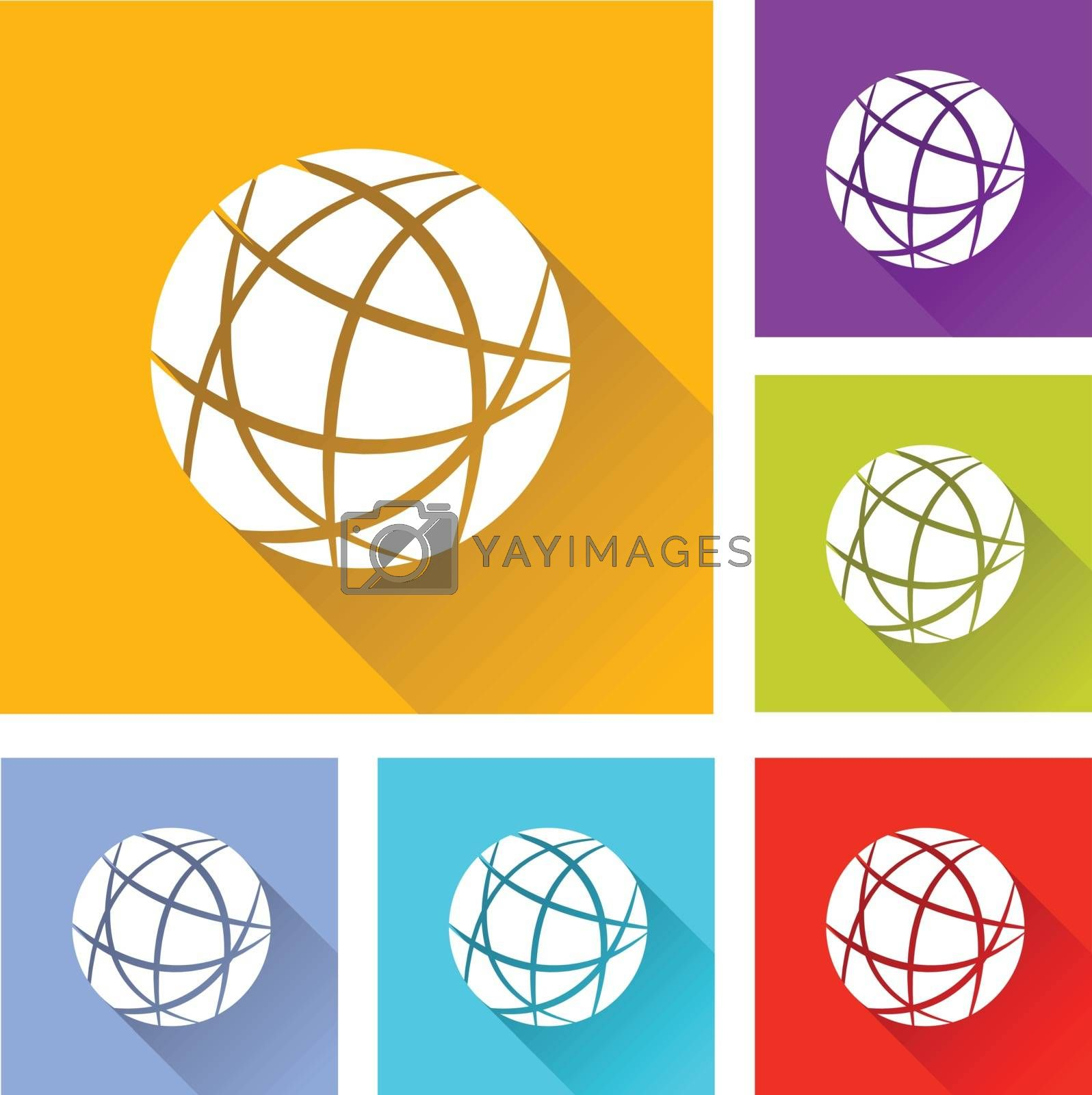illustration of colorful square earth icons set