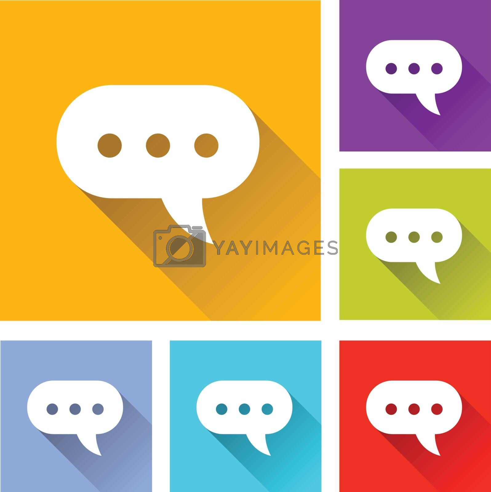 illustration of colorful square comment icons set
