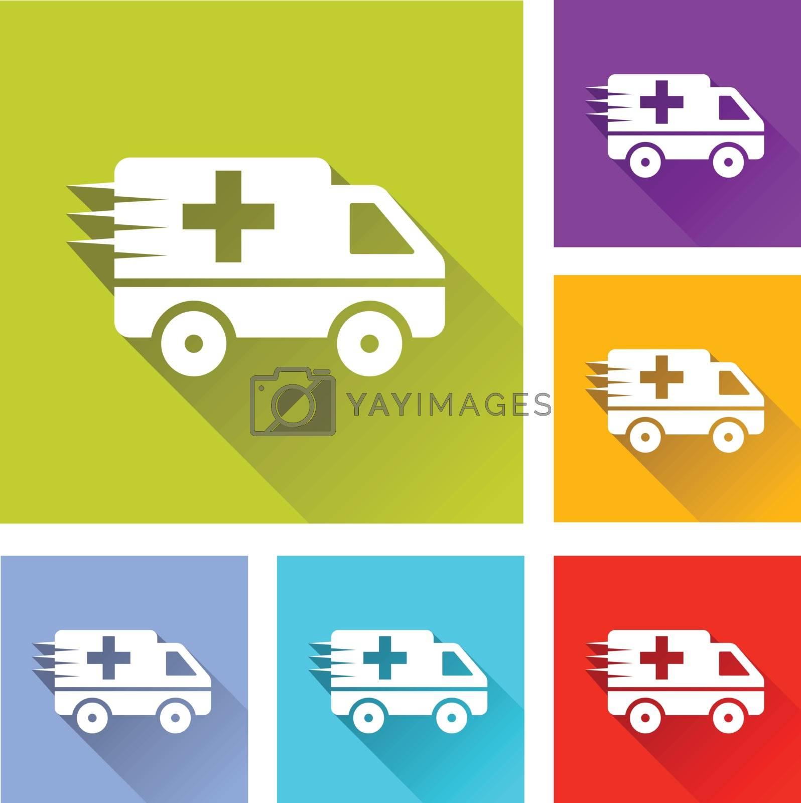 illustration of colorful square ambulance icons set