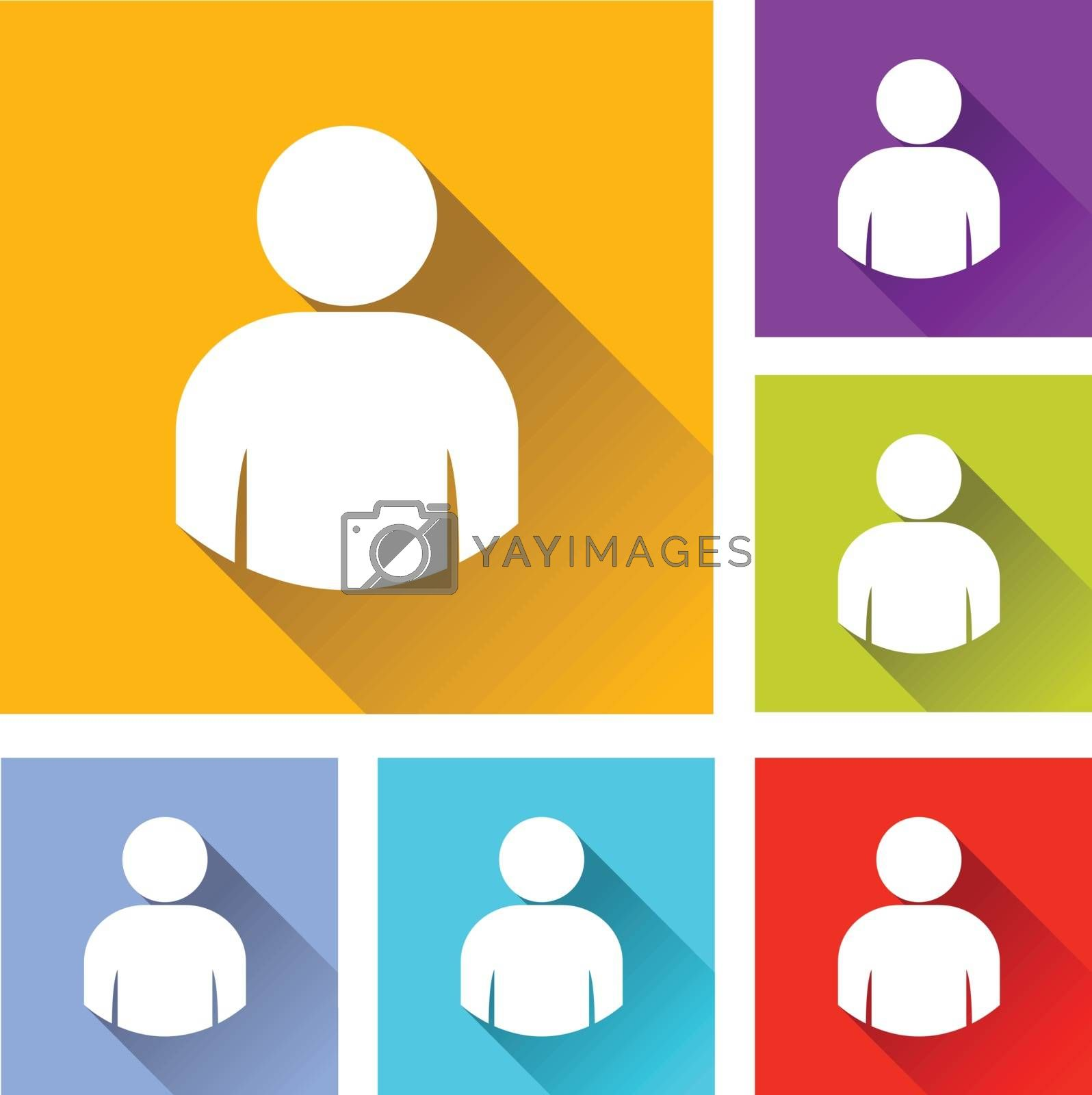 illustration of colorful square user icons set