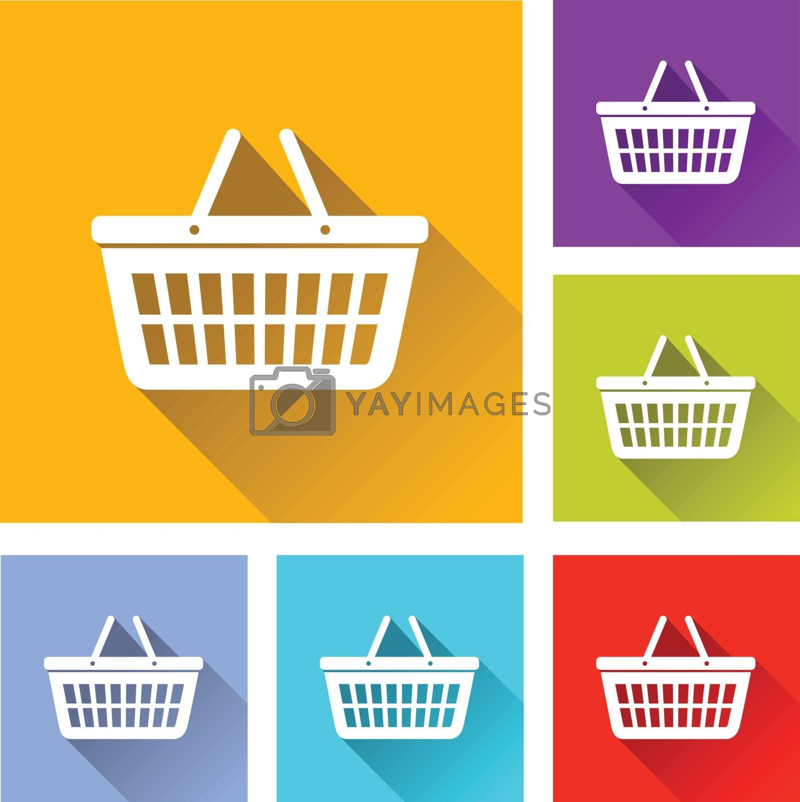 illustration of colorful square basket icons set