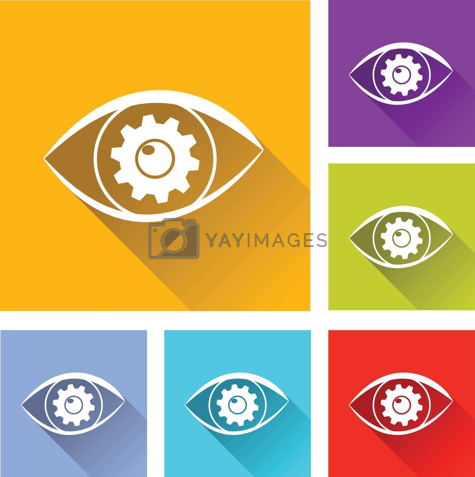 illustration of colorful square search icons set