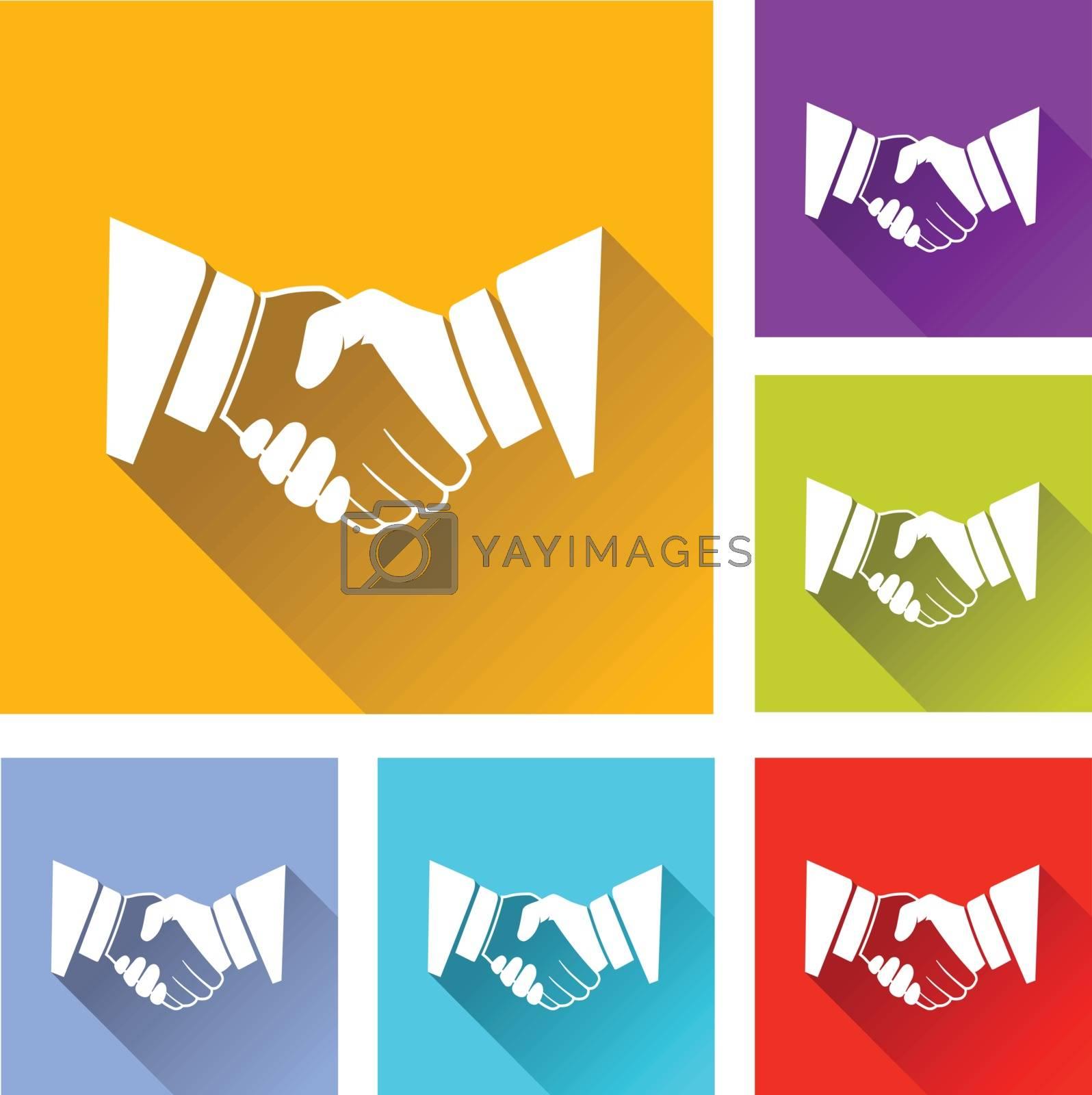 illustration of colorful square handshake icons set