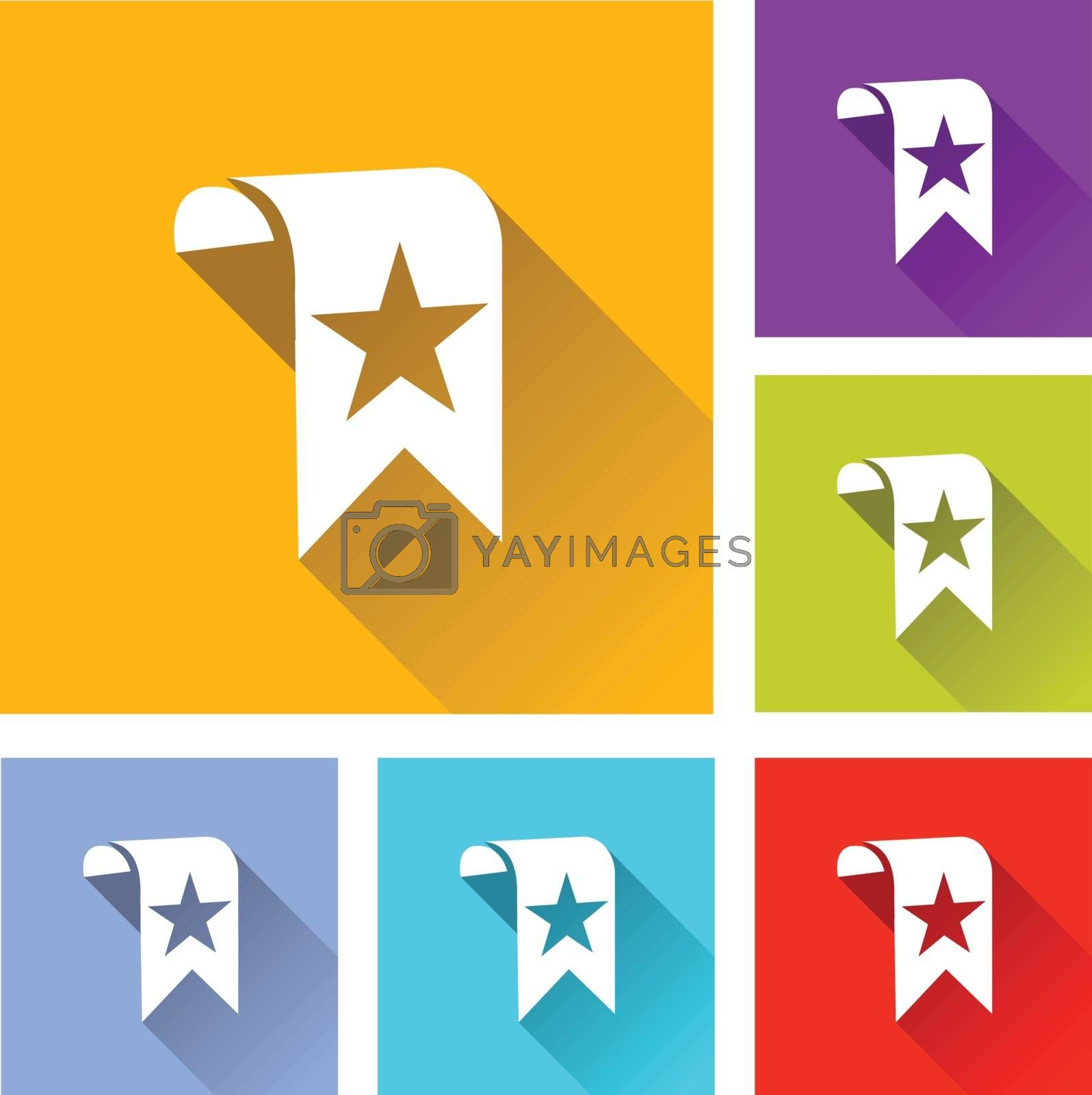 illustration of colorful square bookmark icons set