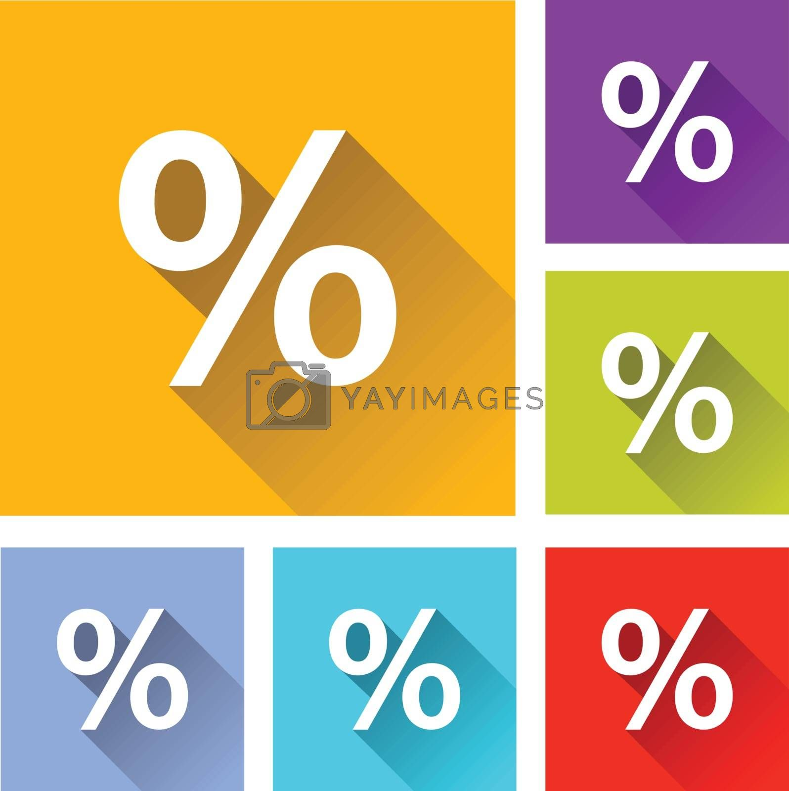 illustration of colorful square percentage icons set