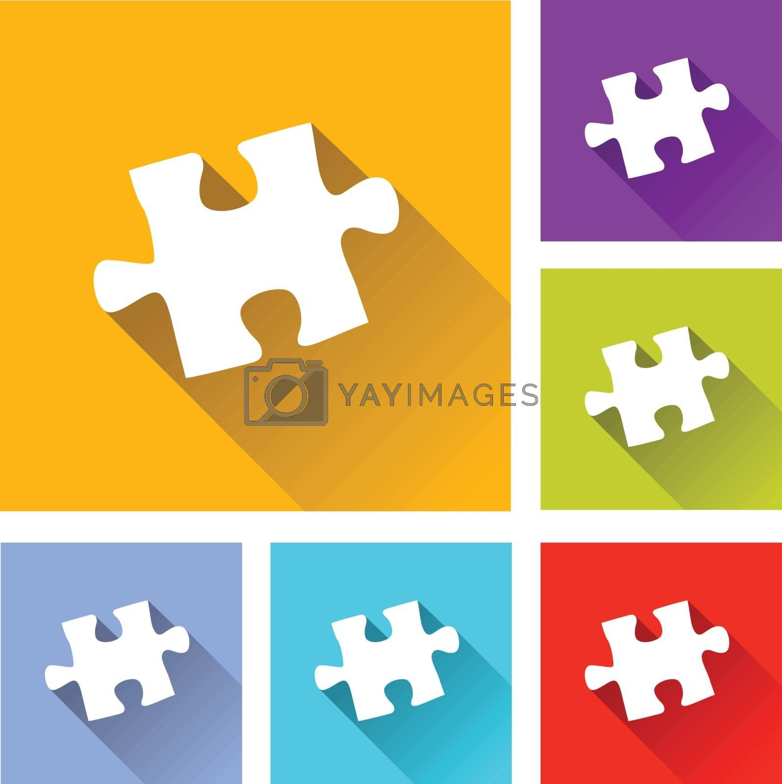 illustration of colorful square puzzle icons set